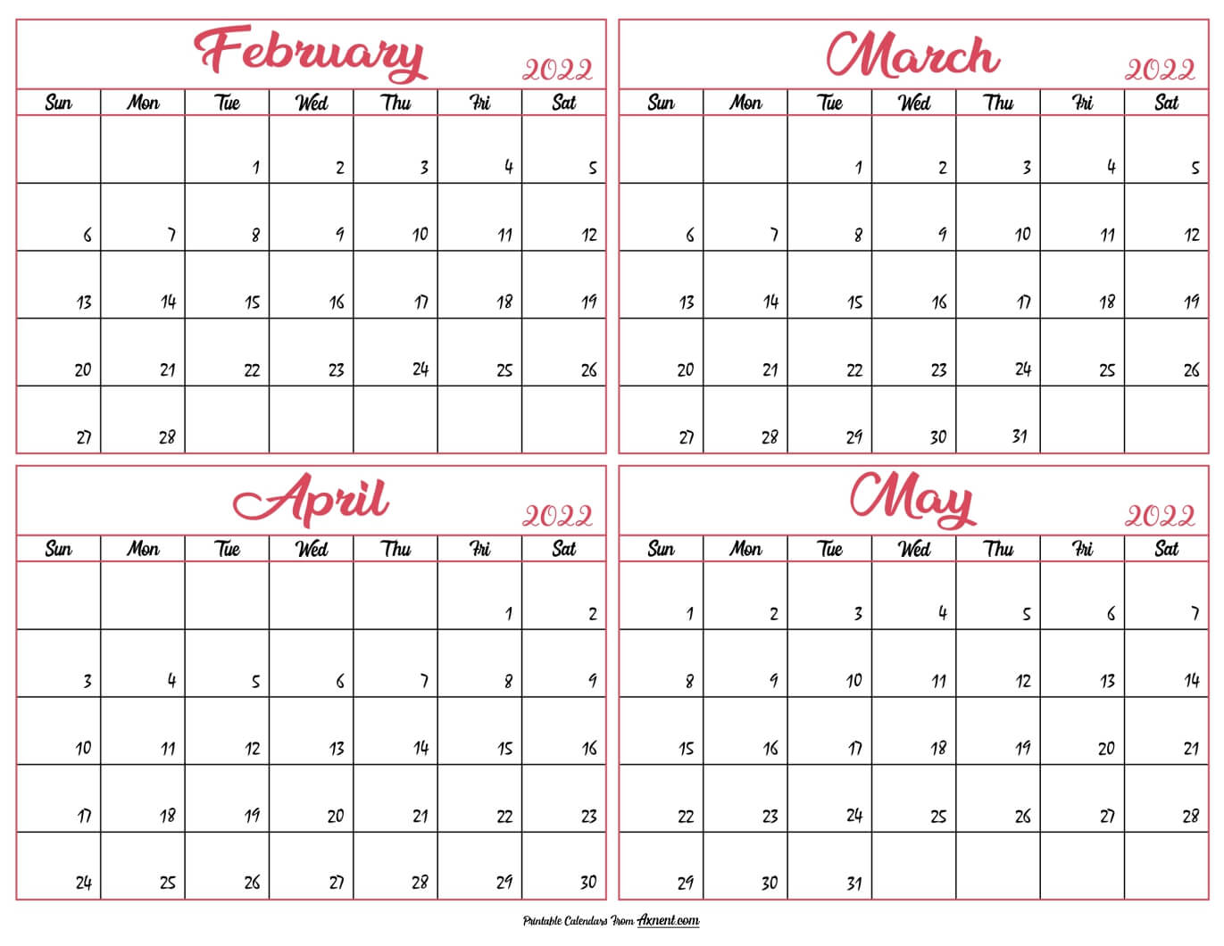February to May Calendar 2022