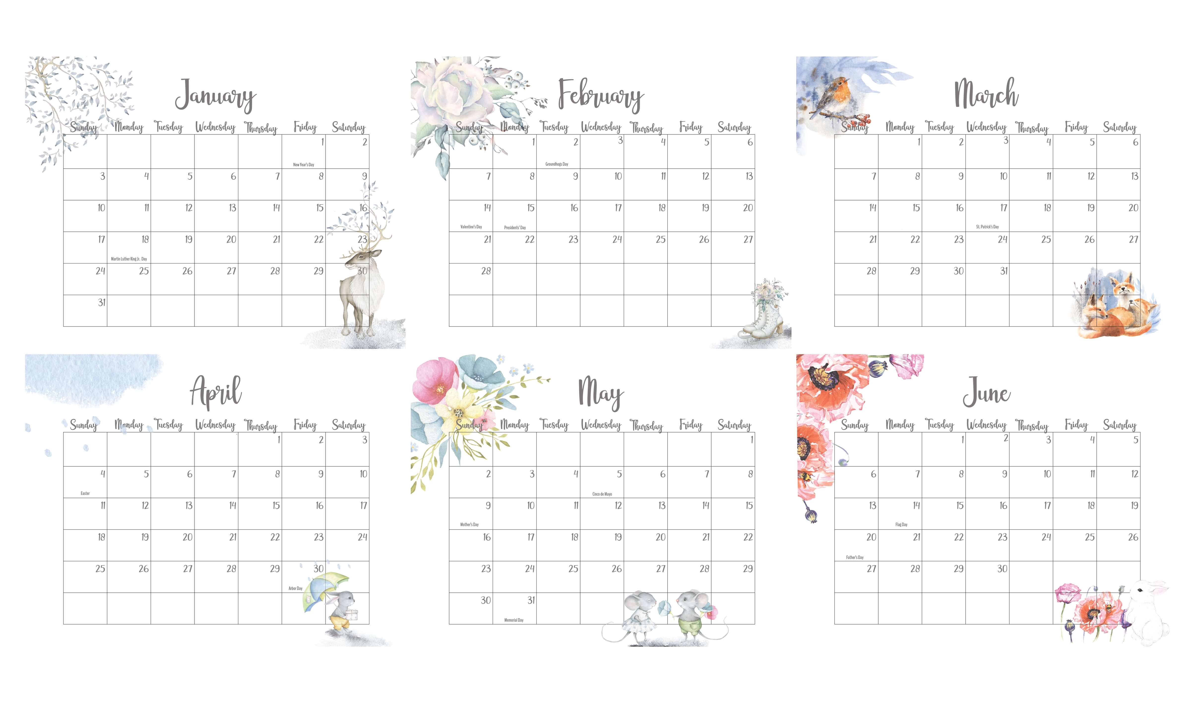 January To June 2021 Calendar With Holidays