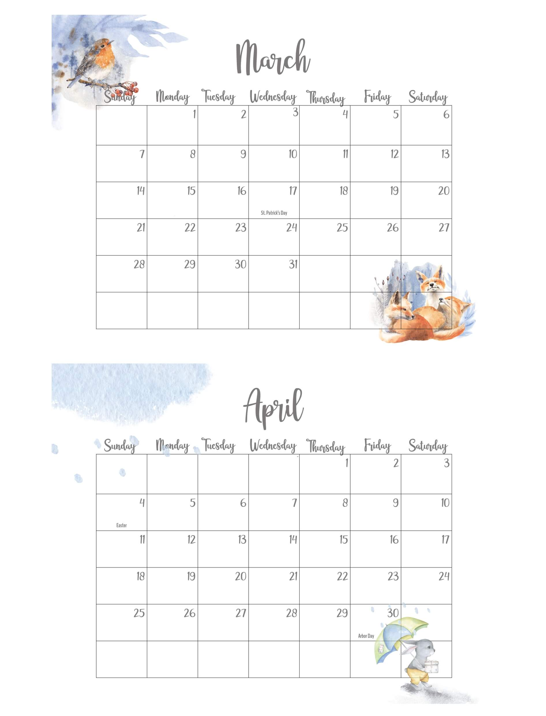 March April 2021 Calendar With Holidays