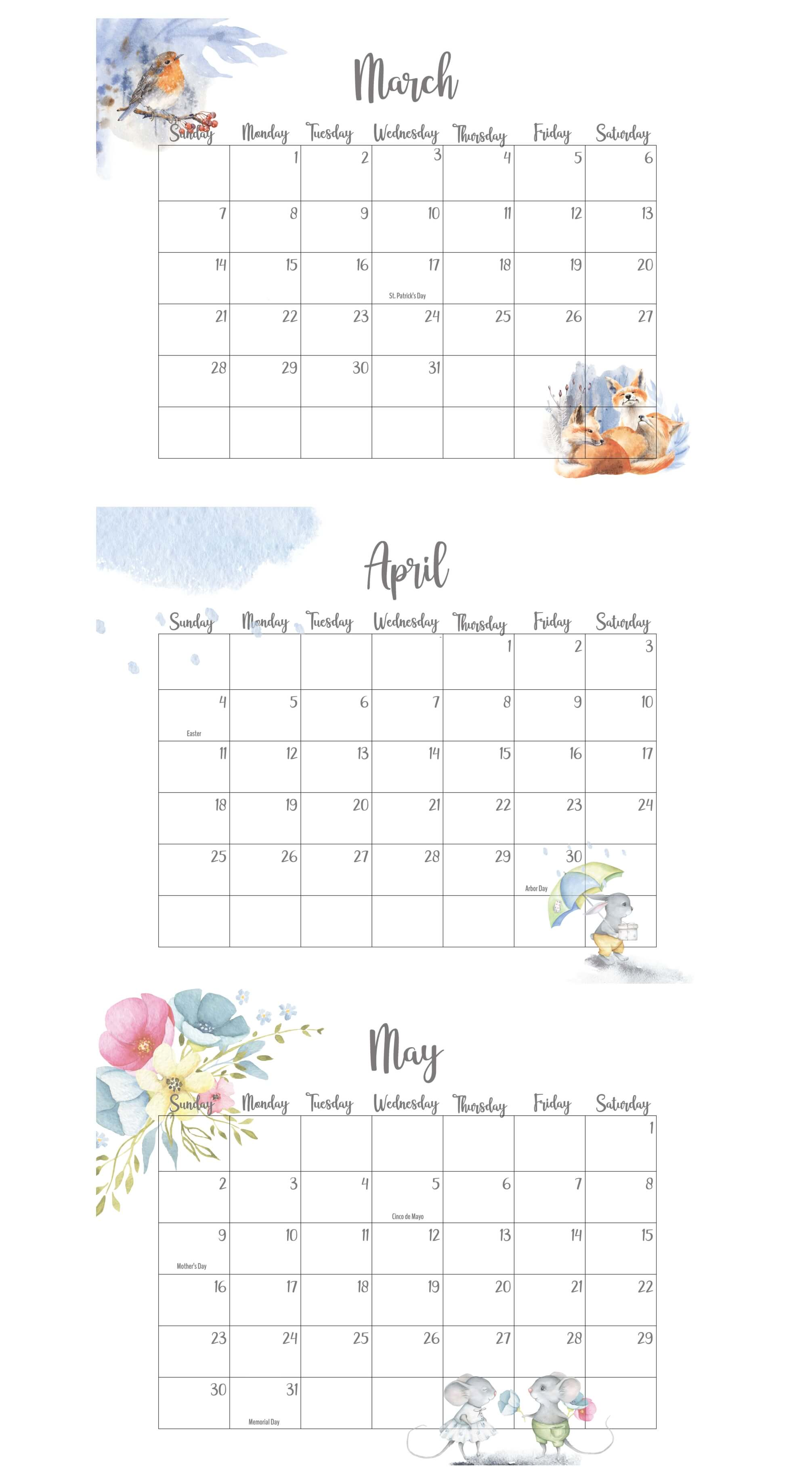 March April May 2021 Calendar With Holidays