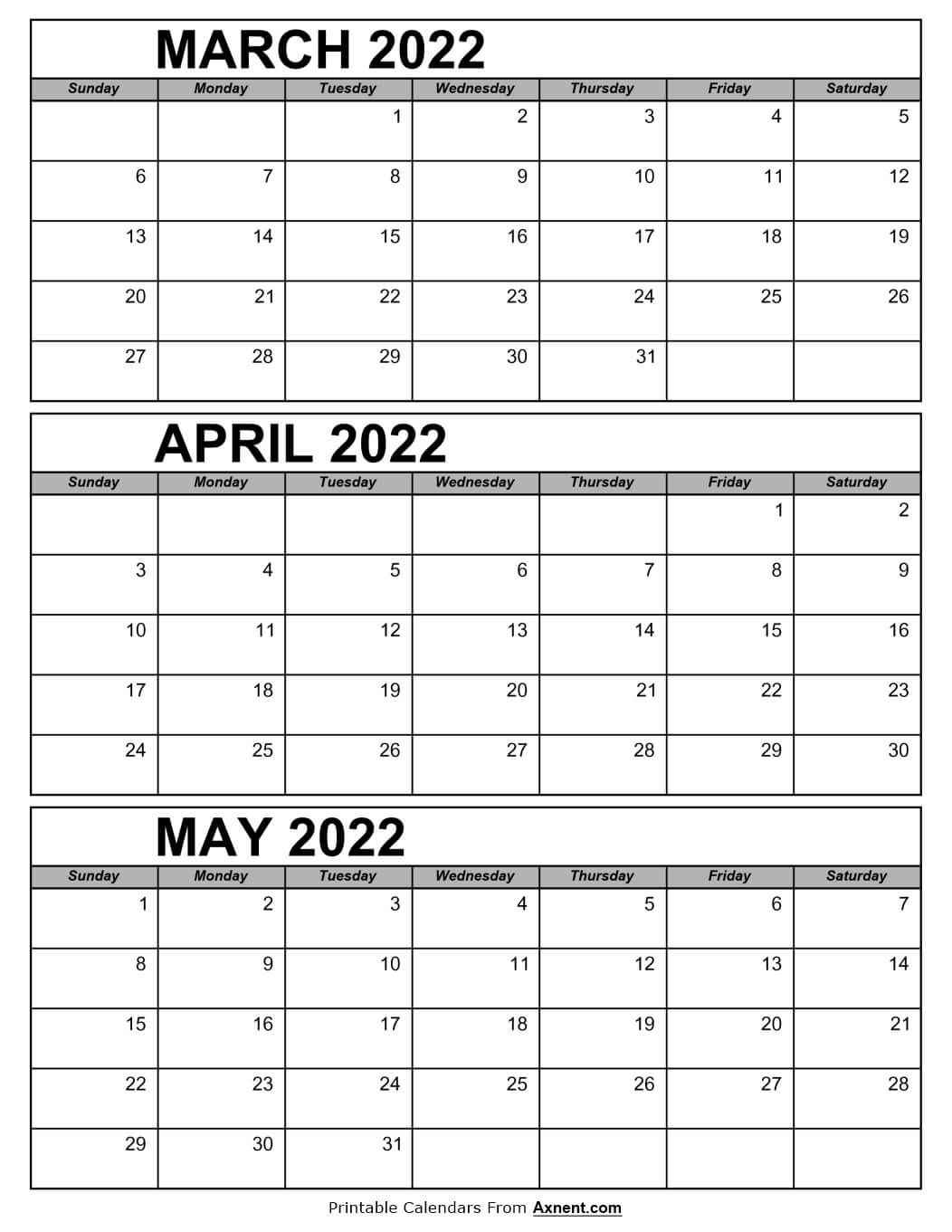 March April and May Calendar 2022