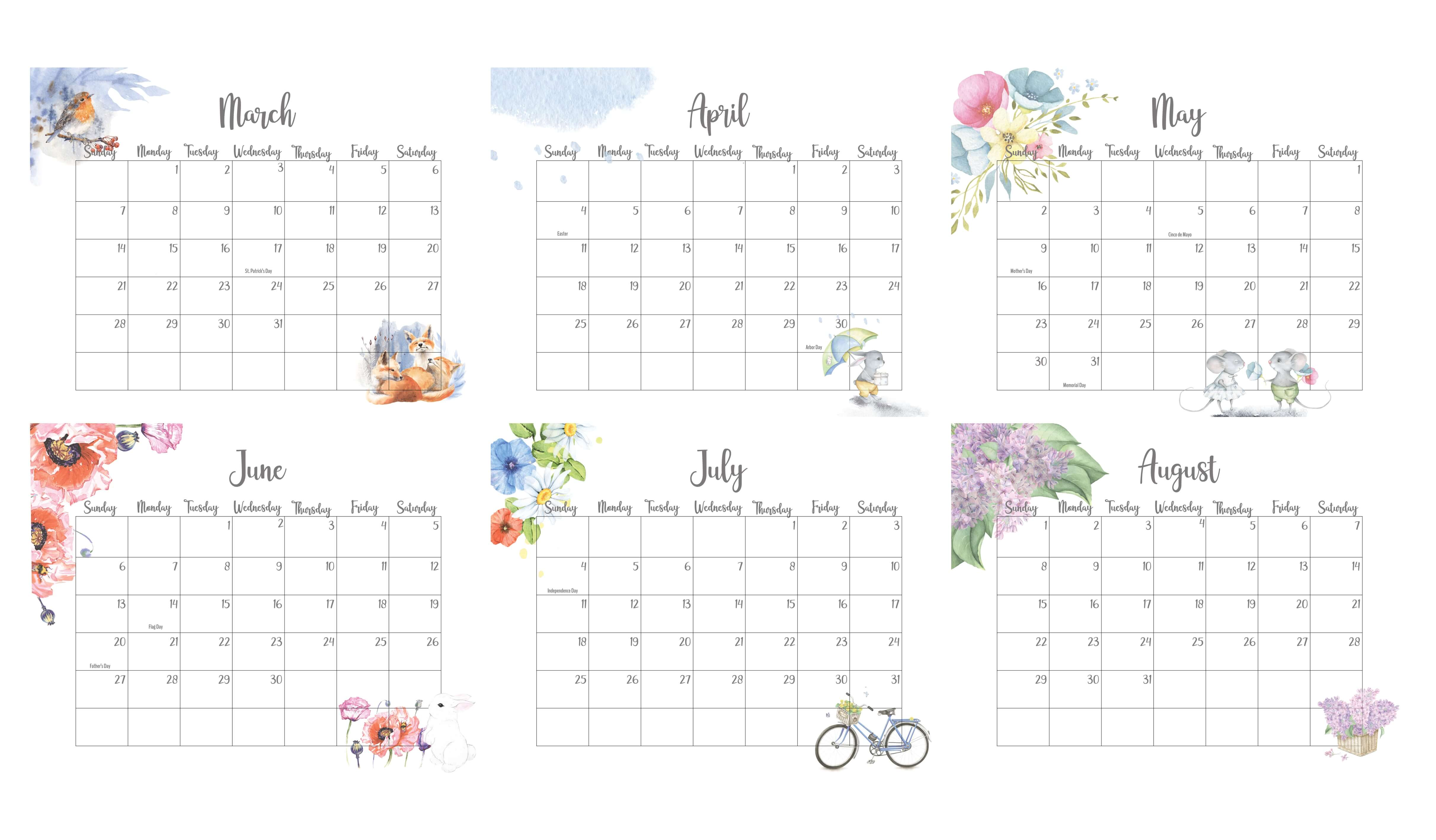 March To August 2021 Calendar With Holidays