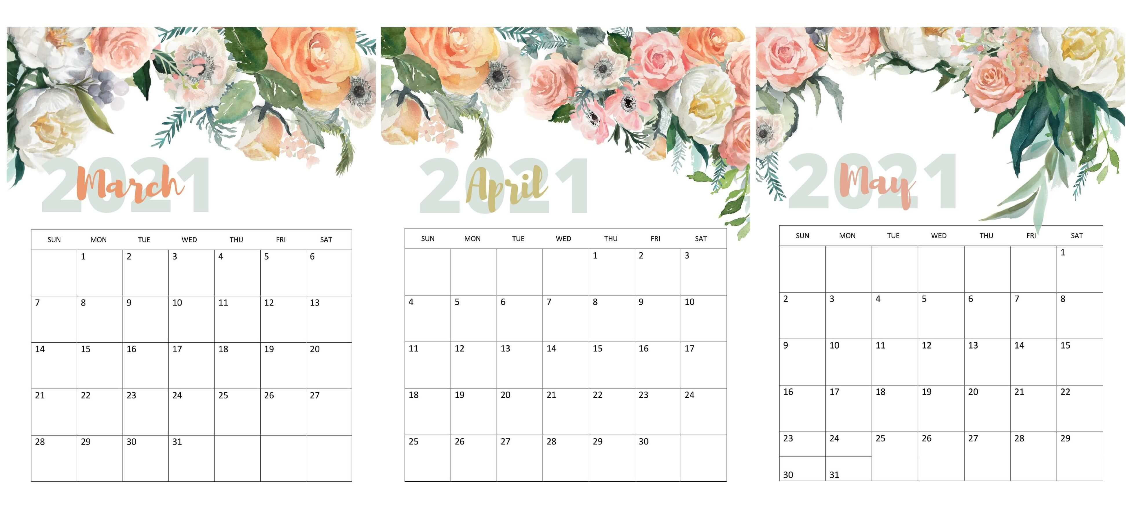 March To May 2021 Calendar Cute
