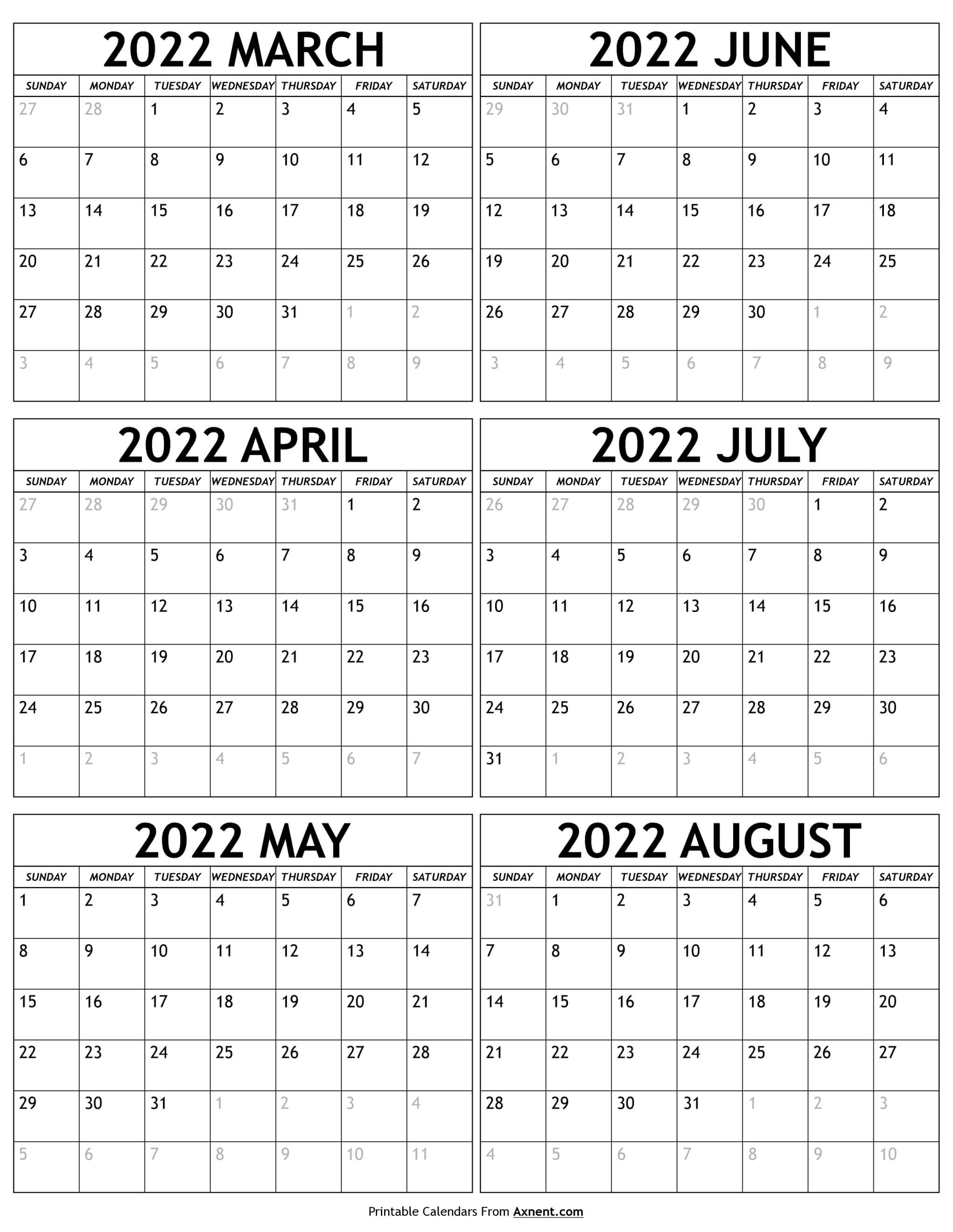 March to August 2022 Calendar