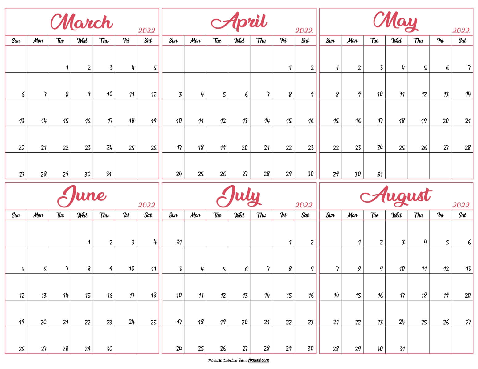 March to August Calendar 2022