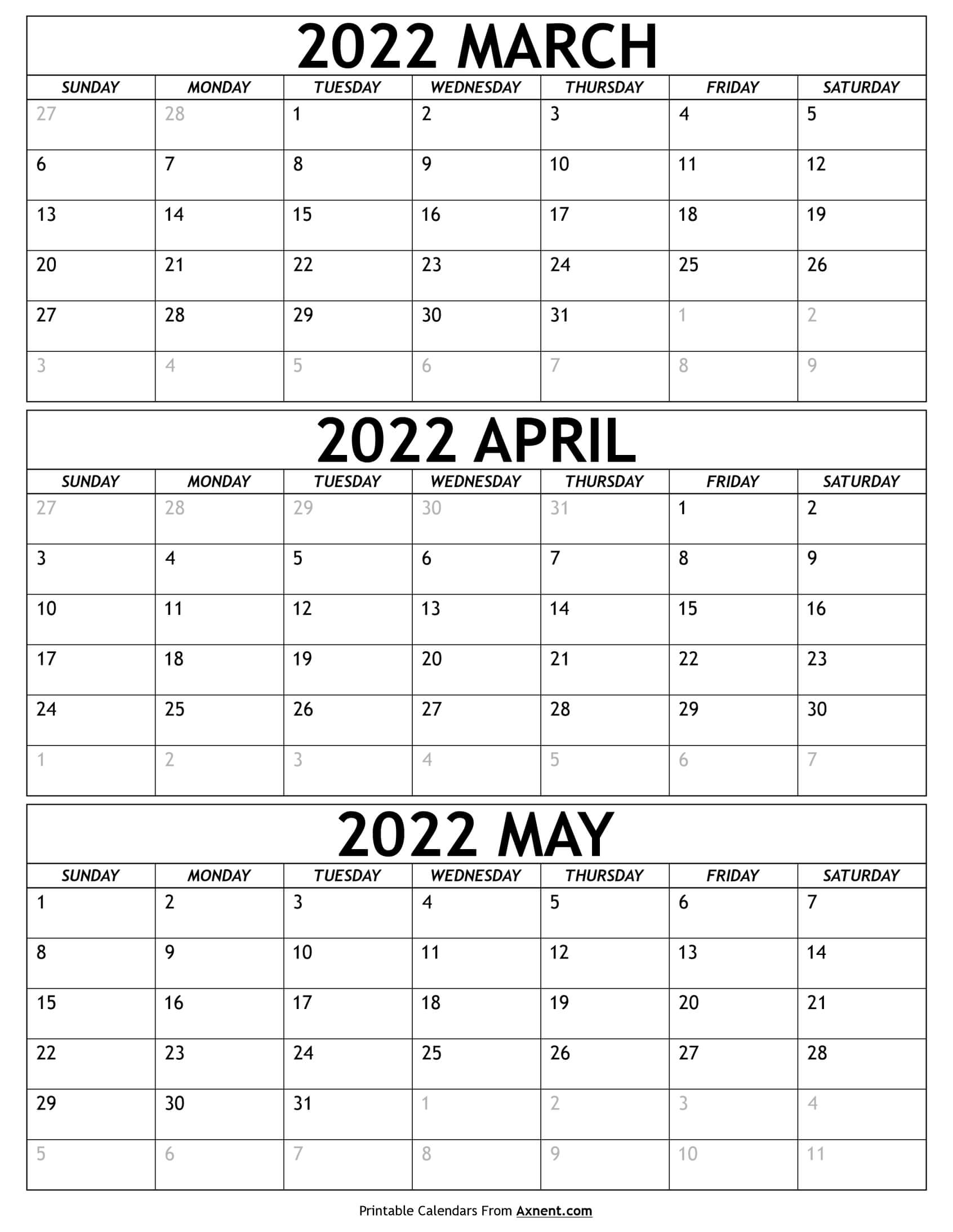March to May 2022 Calendar