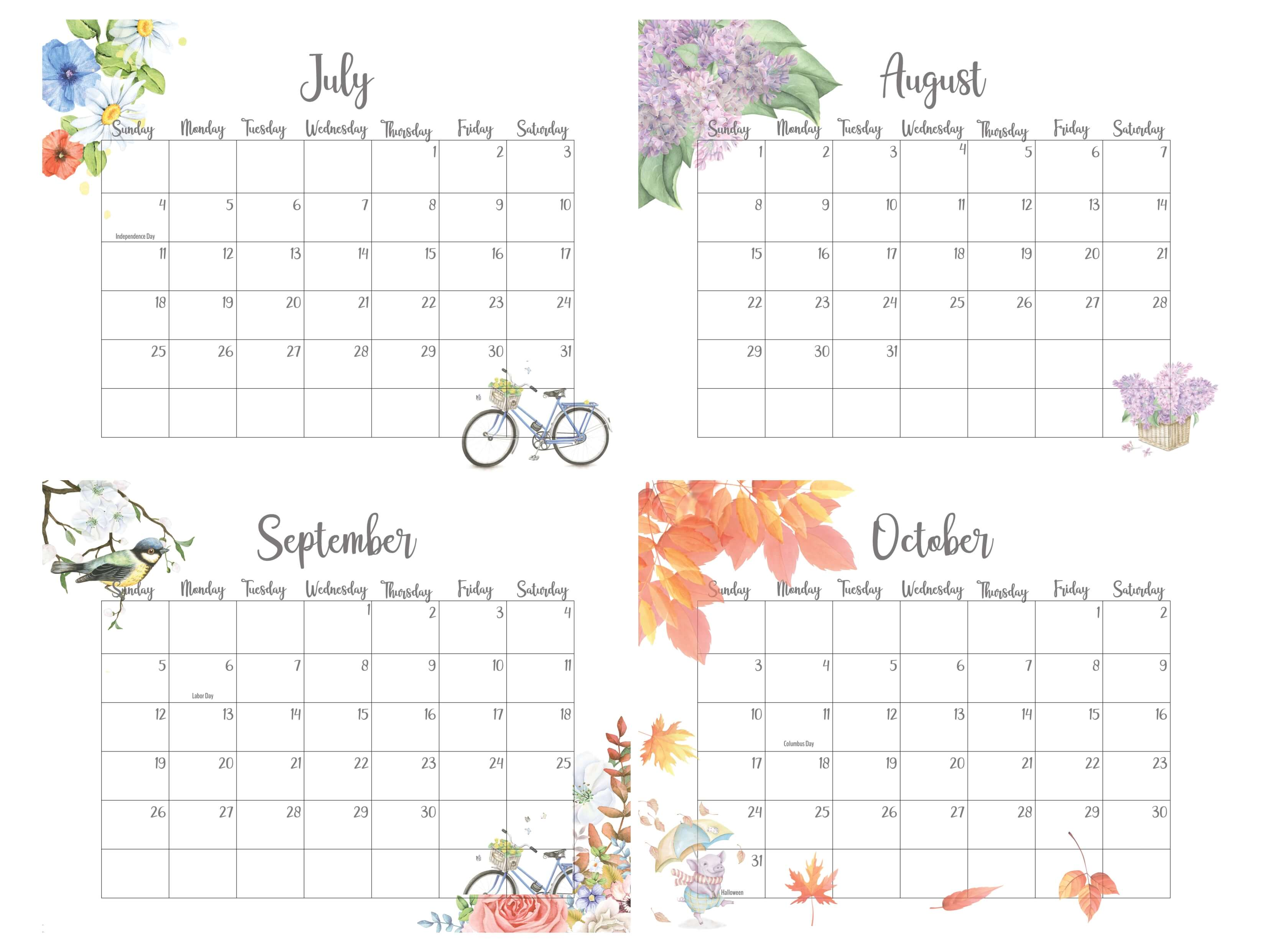 2021 July To October Calendar With Holidays