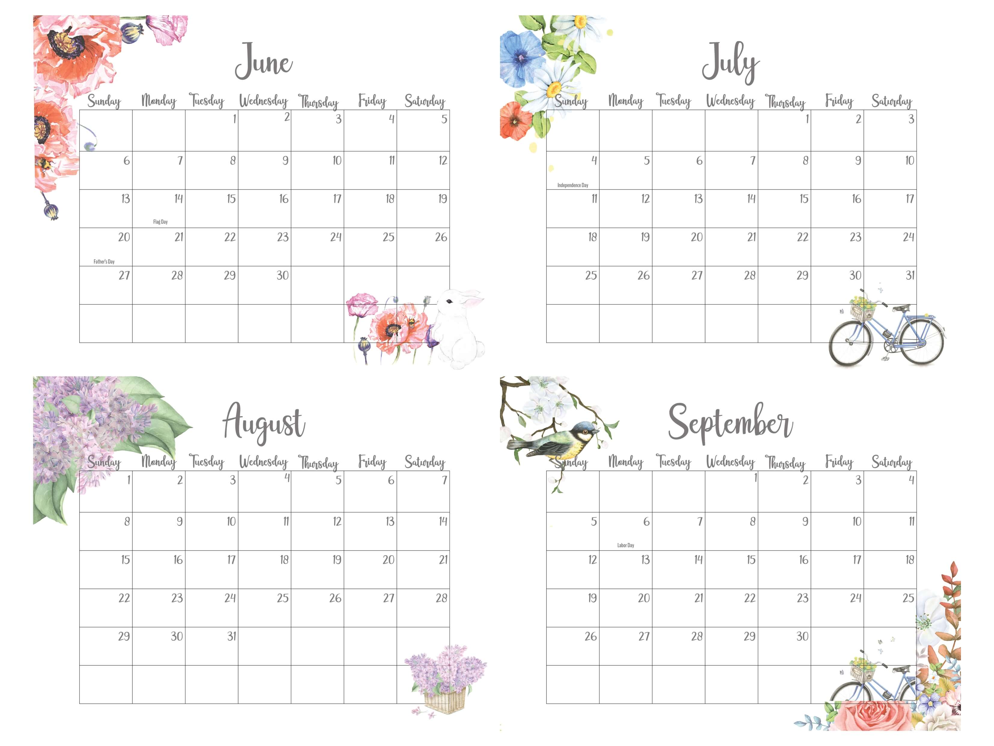 2021 June To September Calendar With Holidays