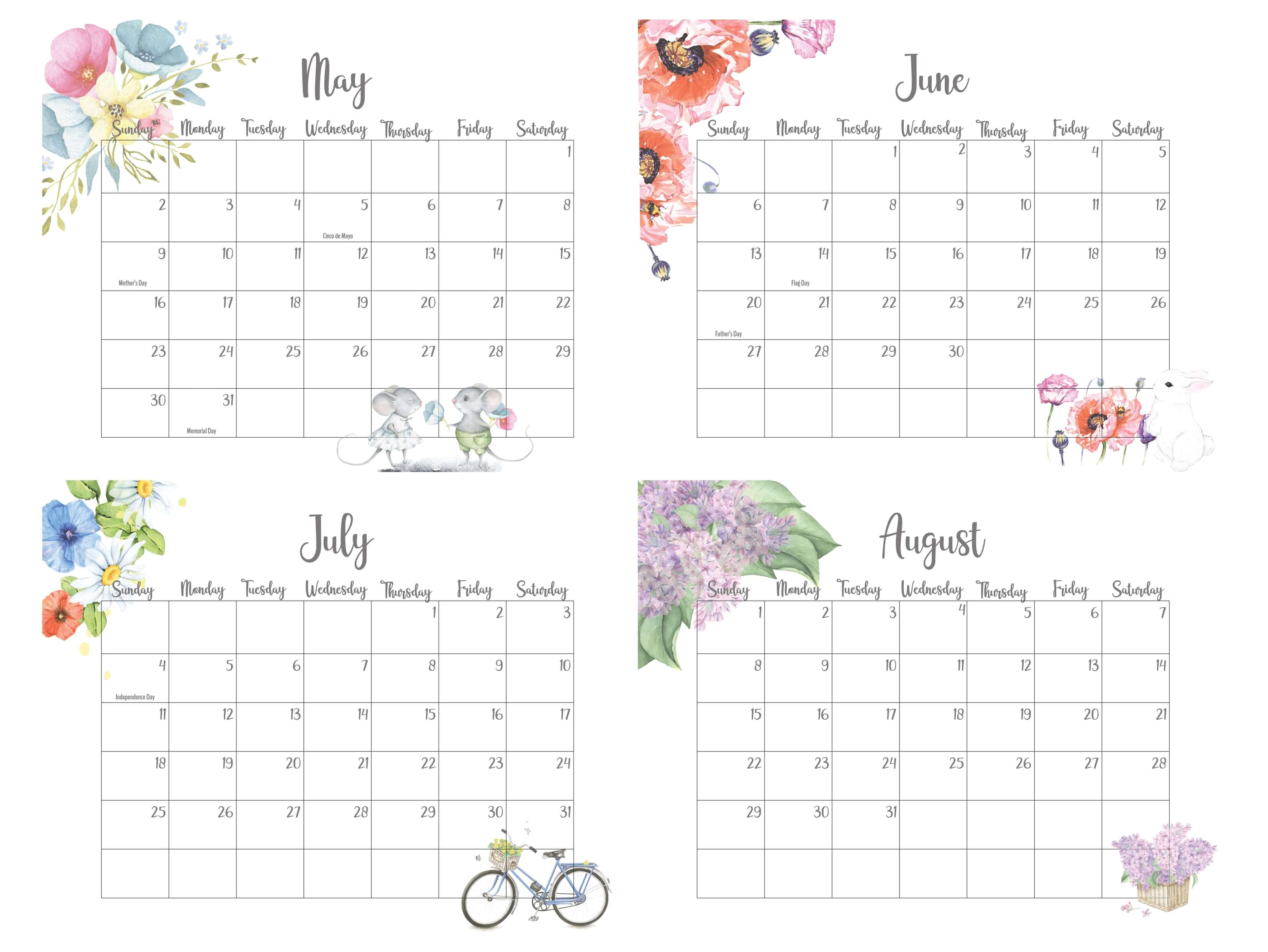 2021 May To August Calendar With Holidays