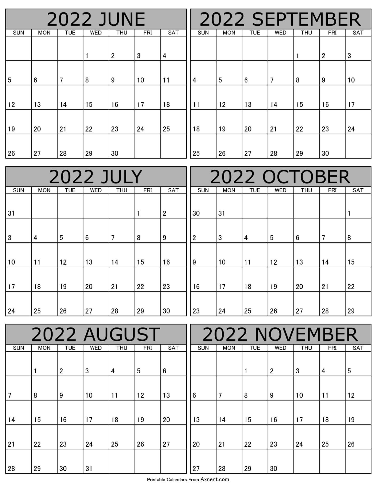 Calendar 2022 June to November