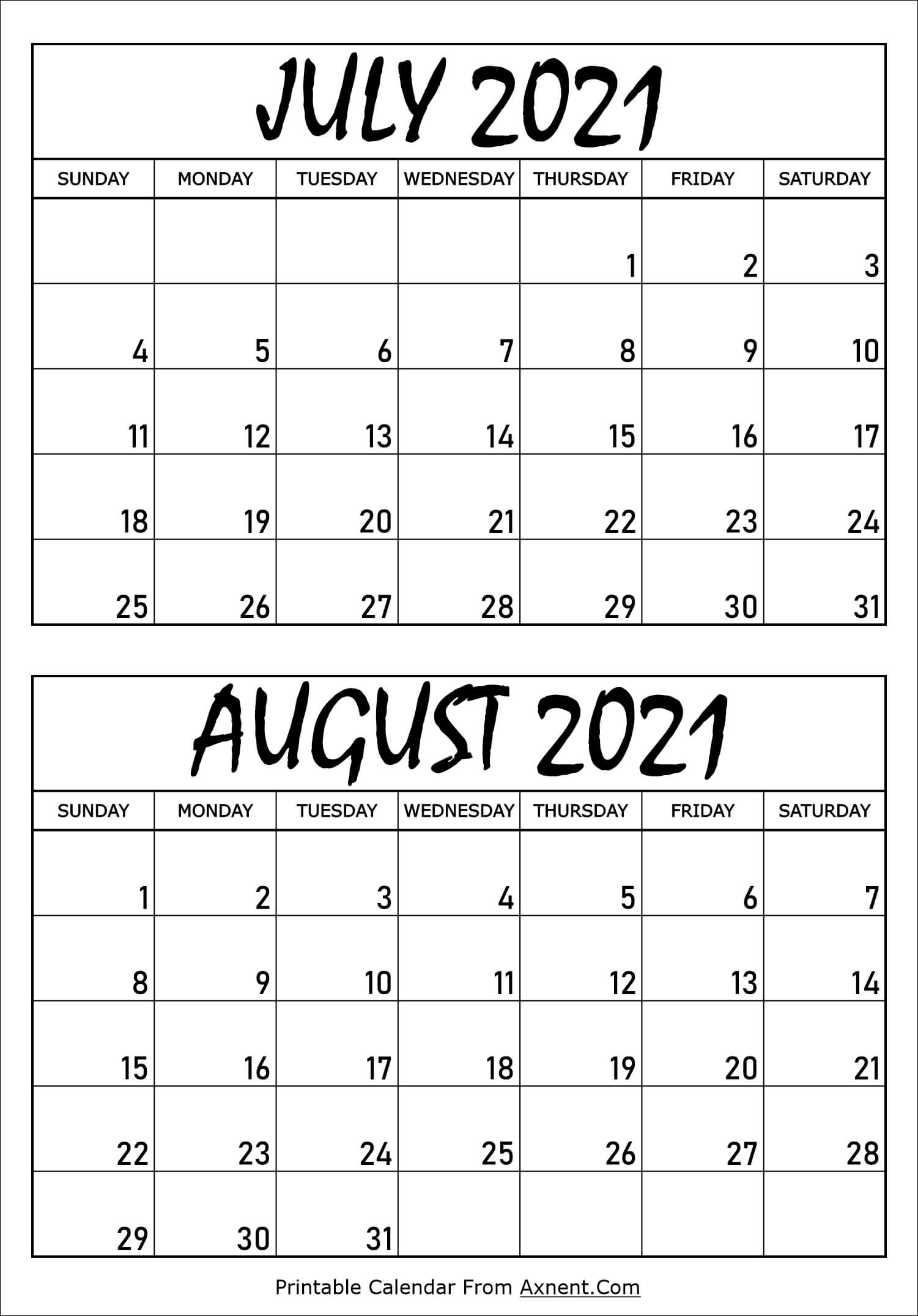 Calendar July and August 2021
