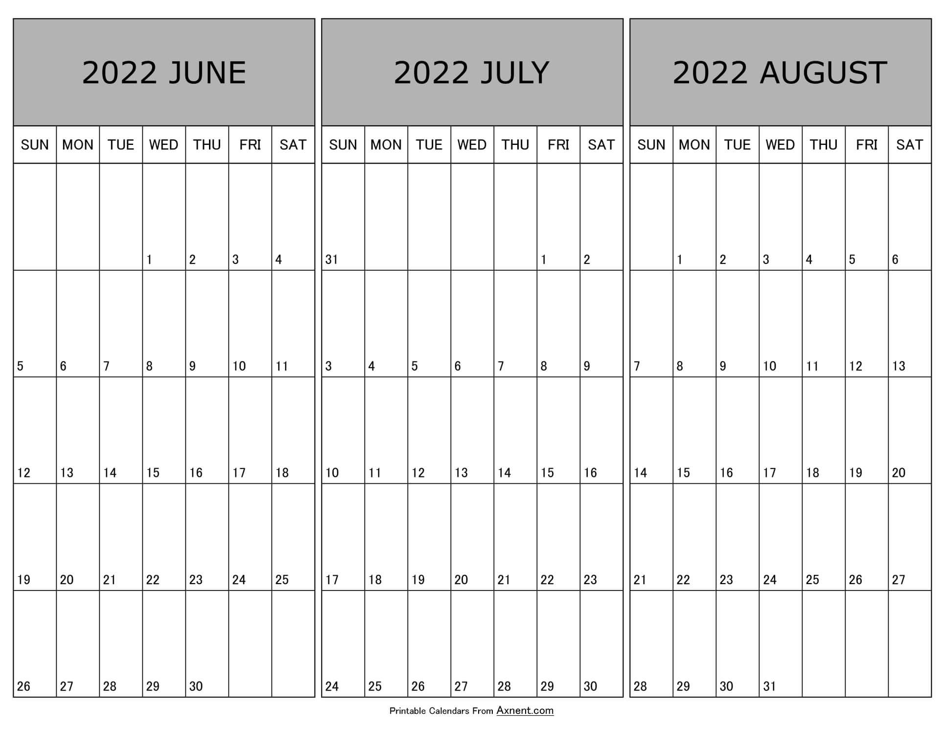 Calendar June July August 2022