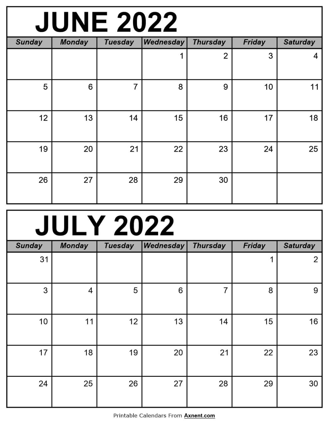 Calendar June and July 2022