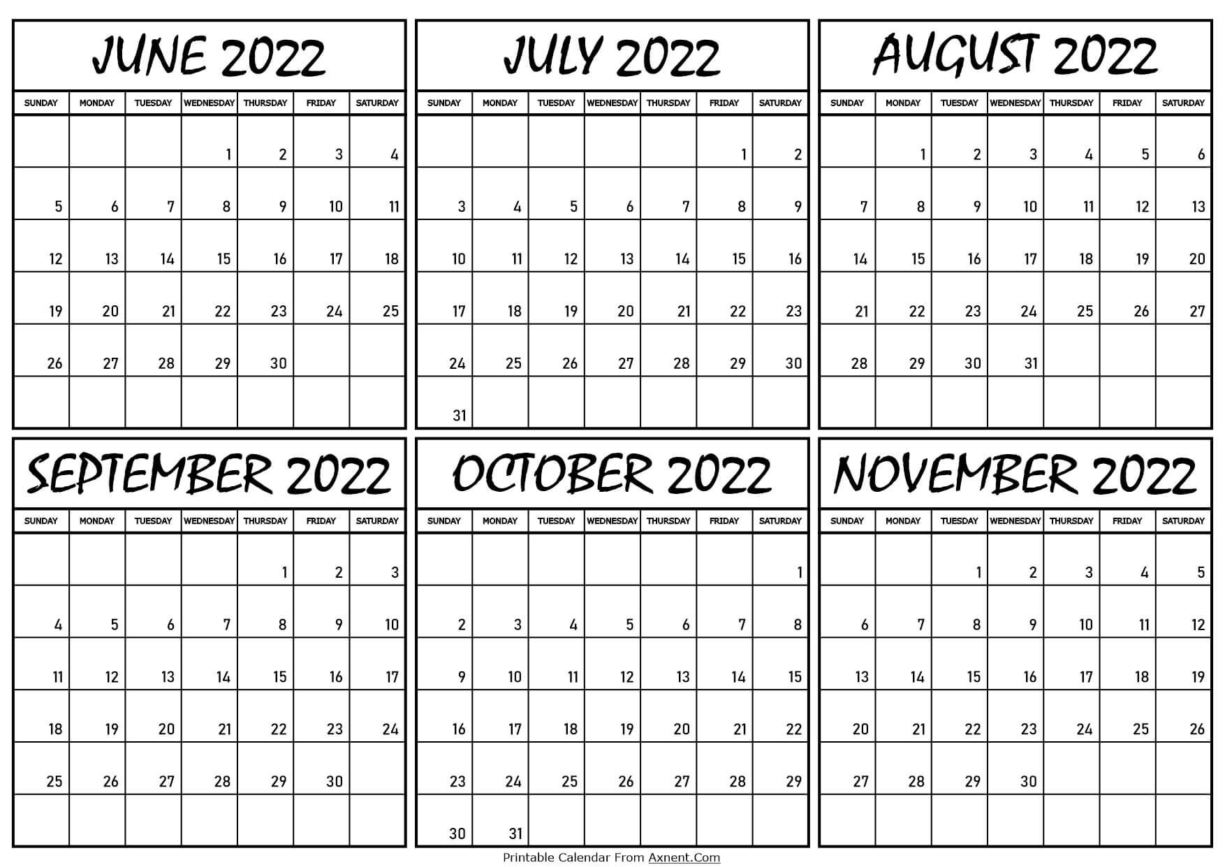 Calendar June to November 2022