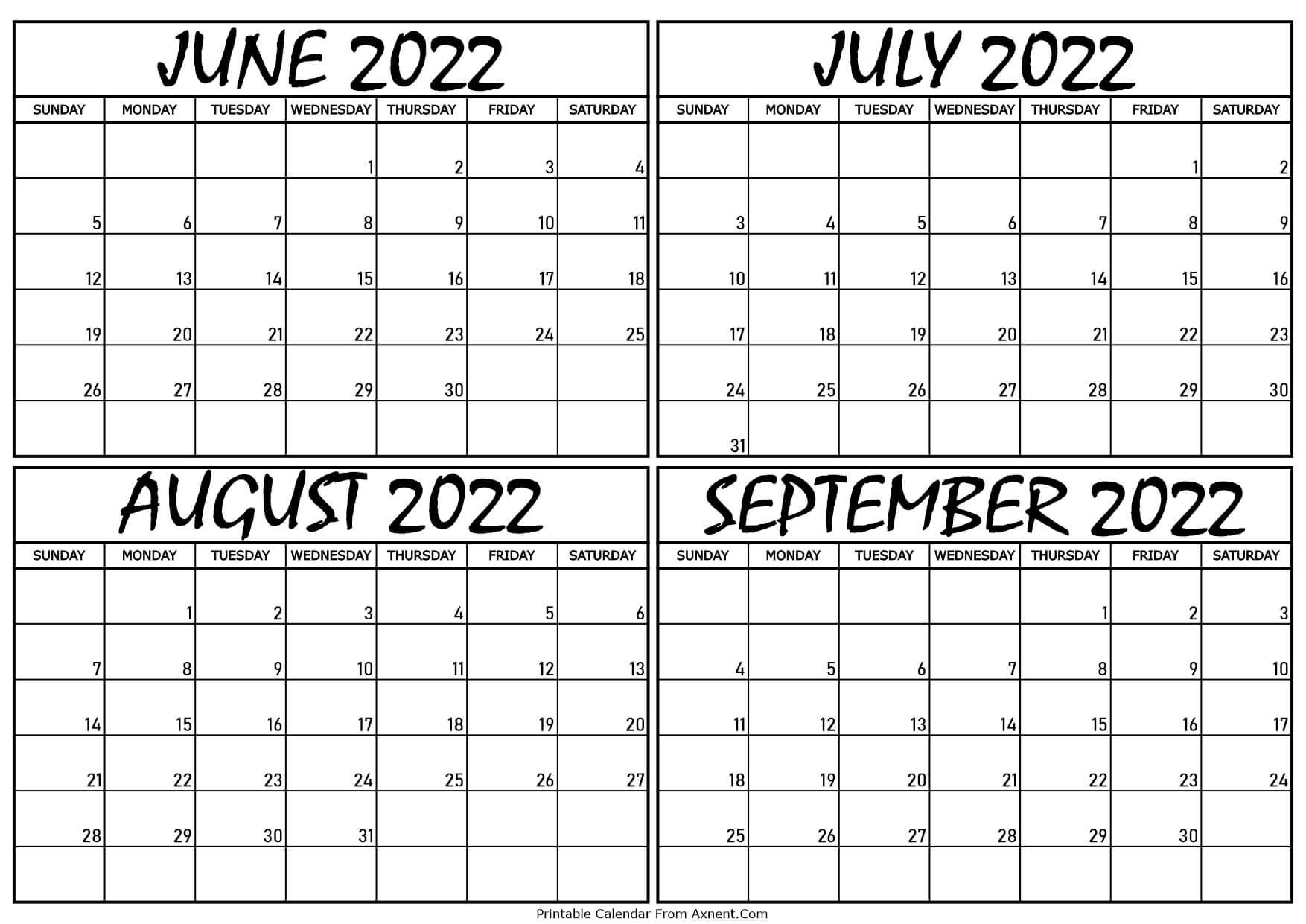 Calendar June to September 2022