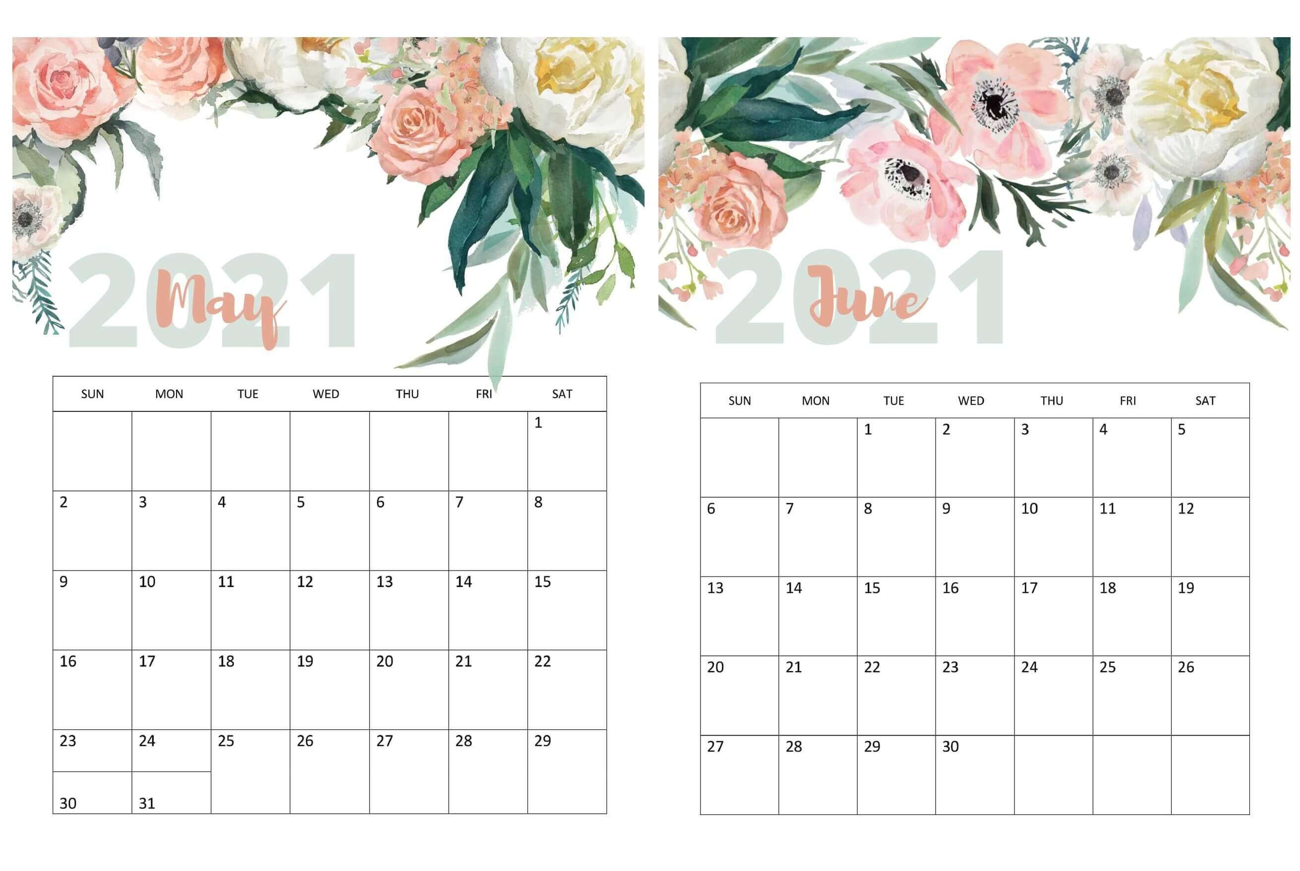 May June 2021 Calendar Templates - Time Management Tools ...