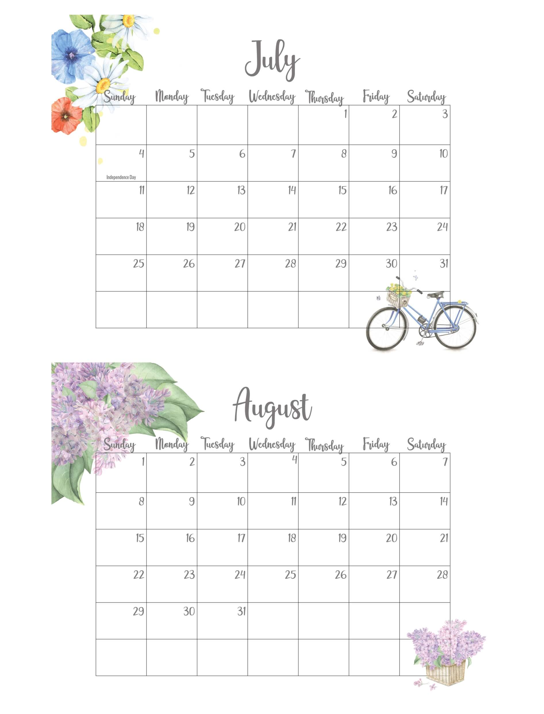 July August 2021 Calendar With Holidays