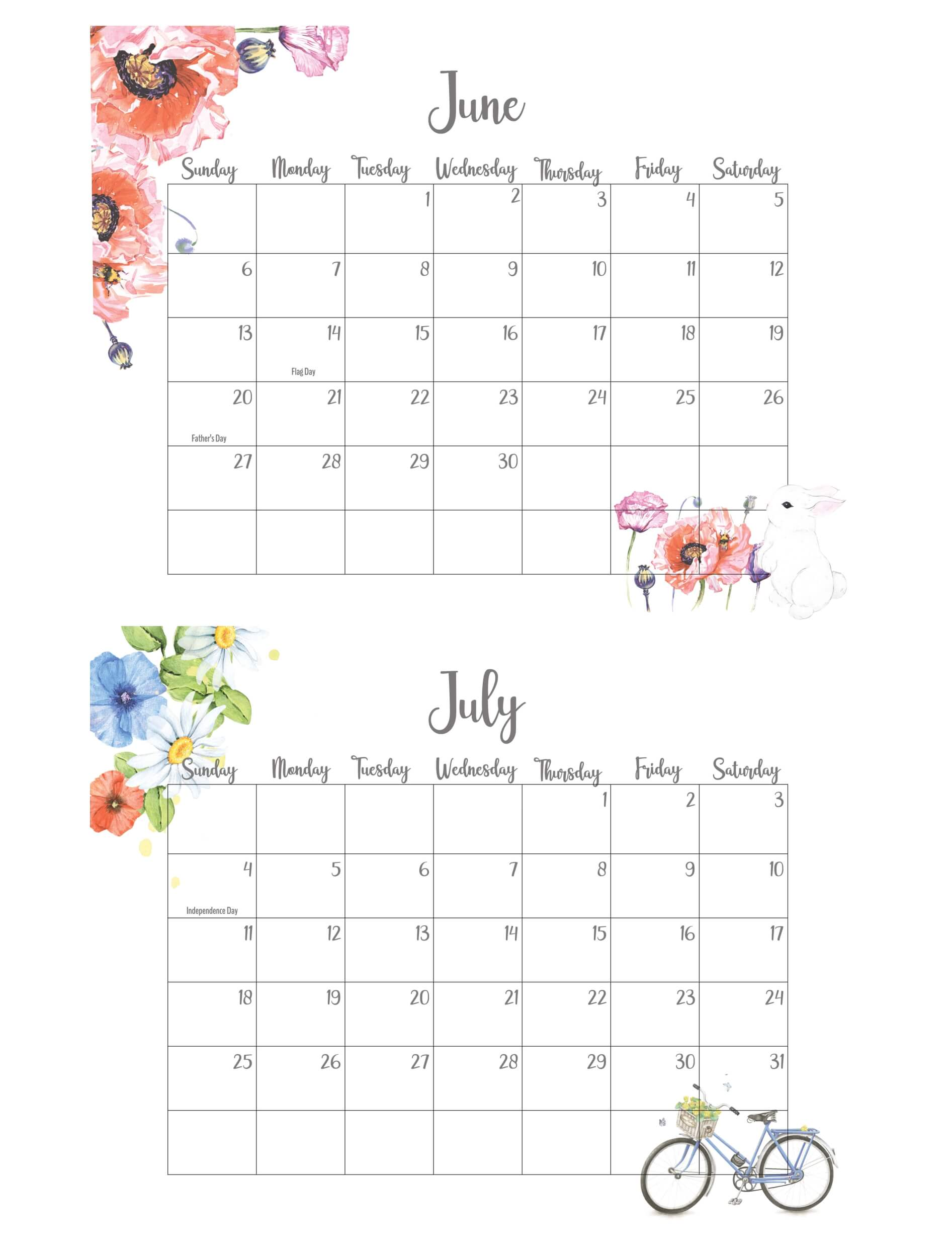 June July 2021 Calendar With Holidays