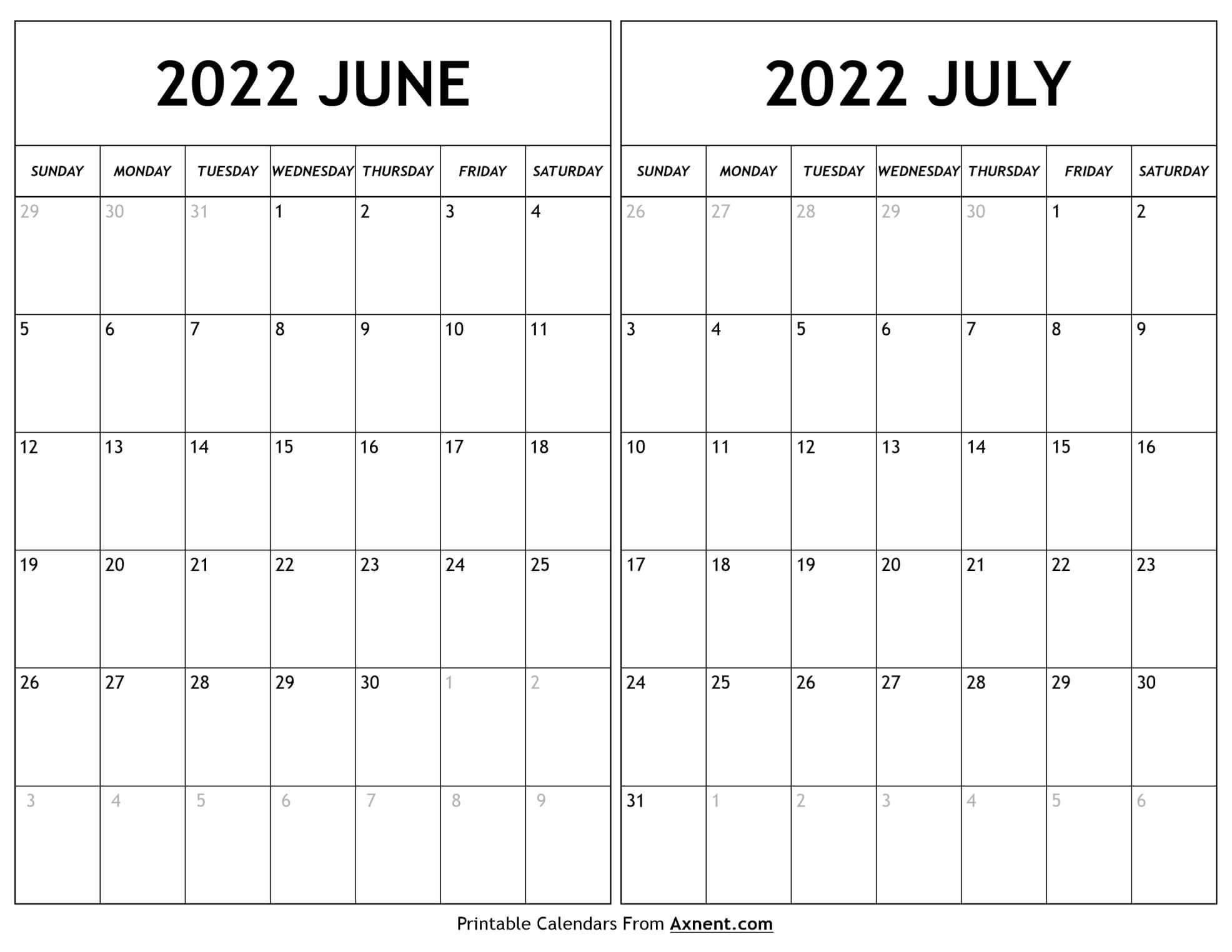 June July 2022 Calendar
