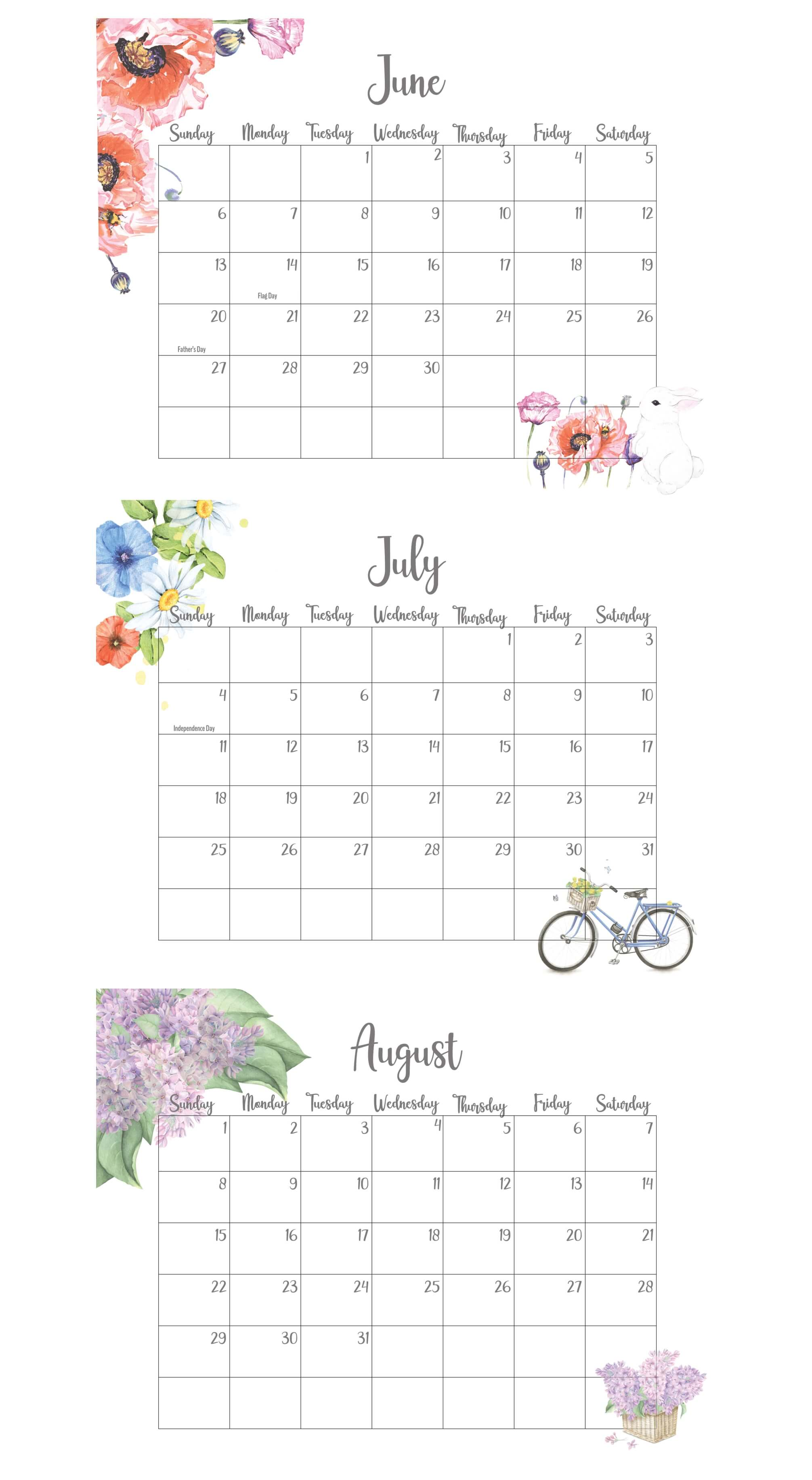 June July August 2021 Calendar With Holidays