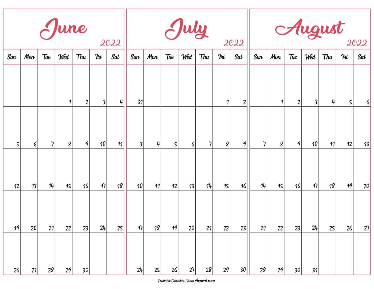 June July August 2022 Calendar