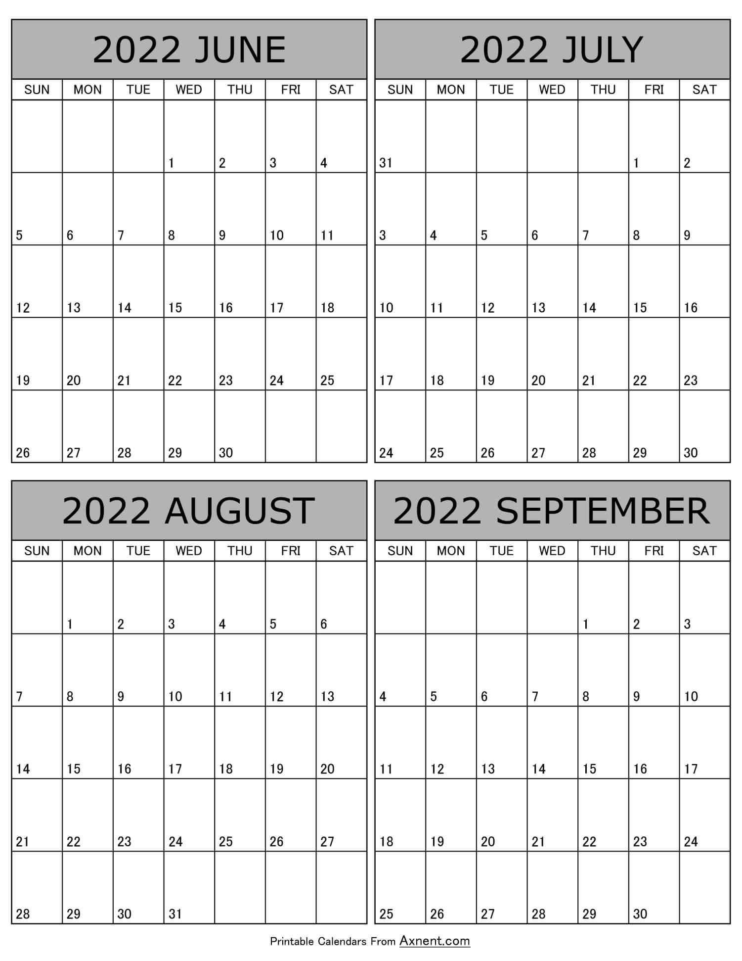 June July August September 2022 Calendar