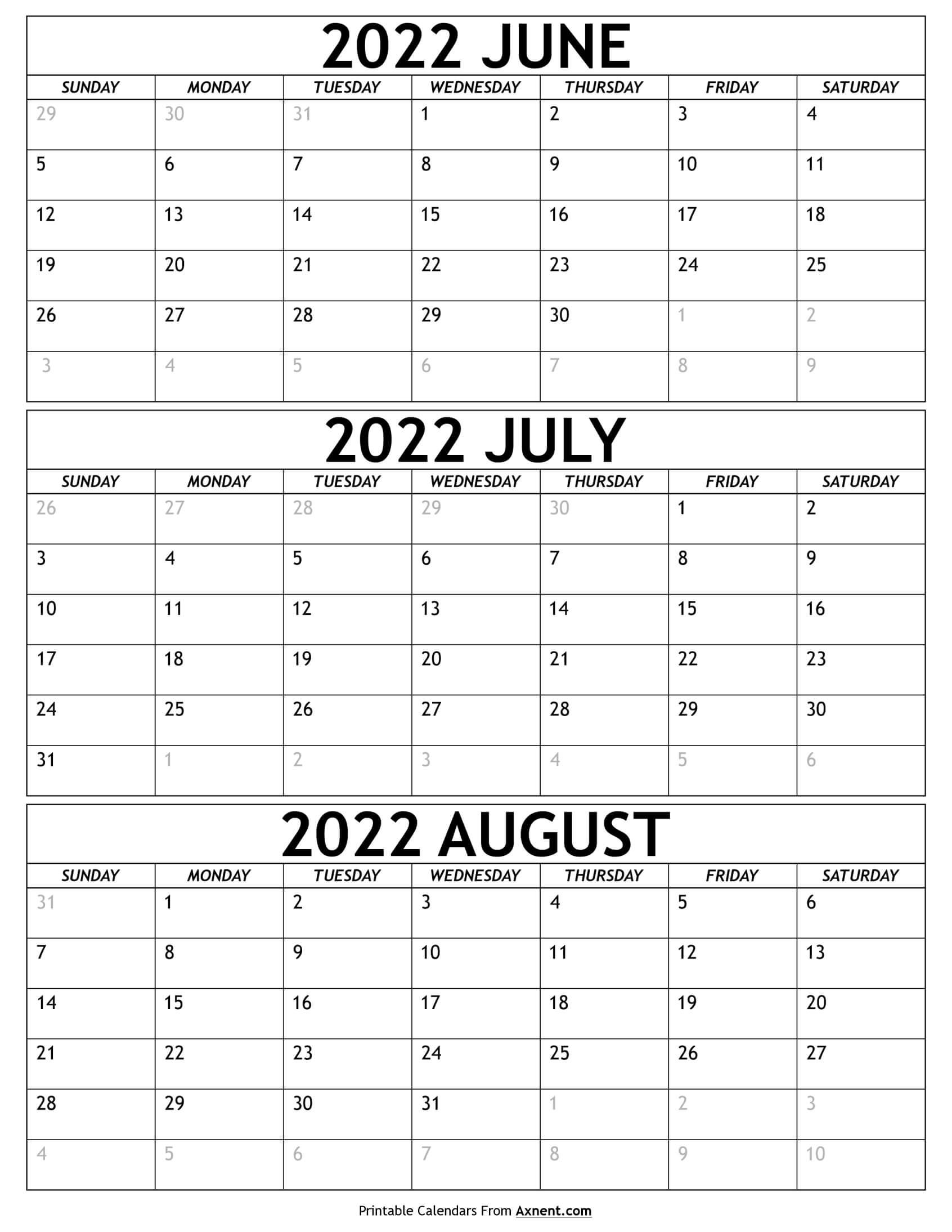 June to August 2022 Calendar