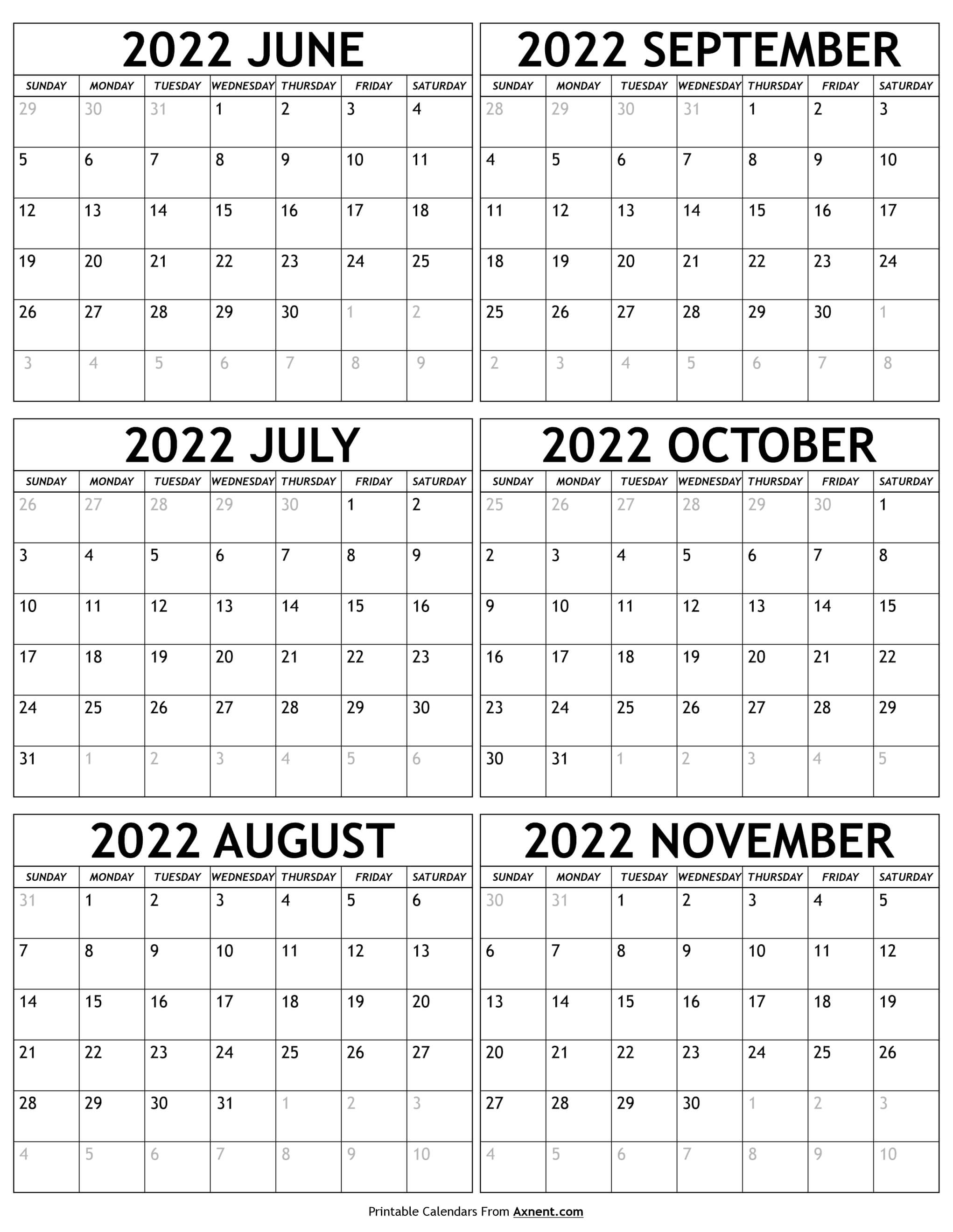 June to November 2022 Calendar