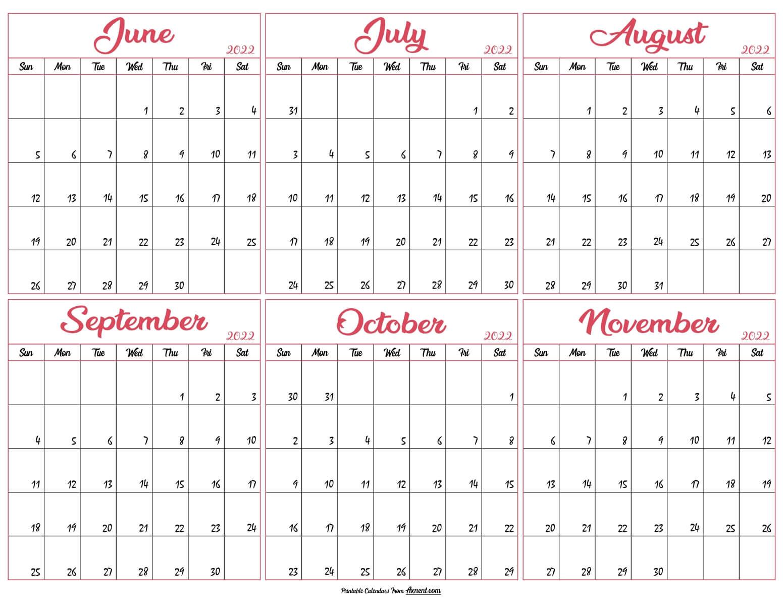 June to November Calendar 2022