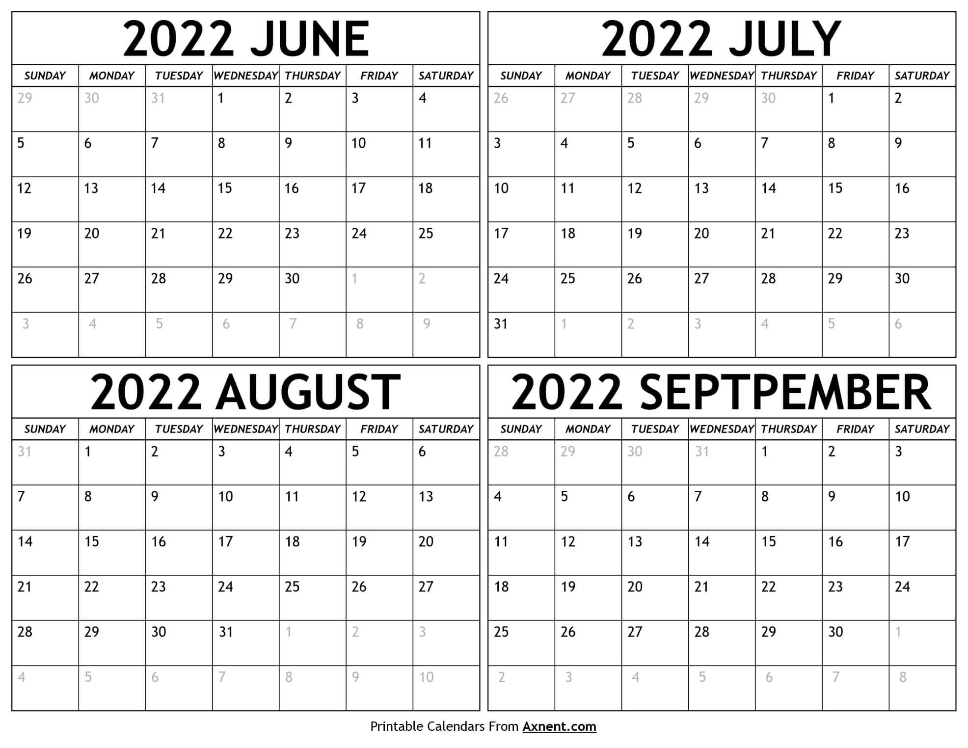 June to September 2022 Calendar