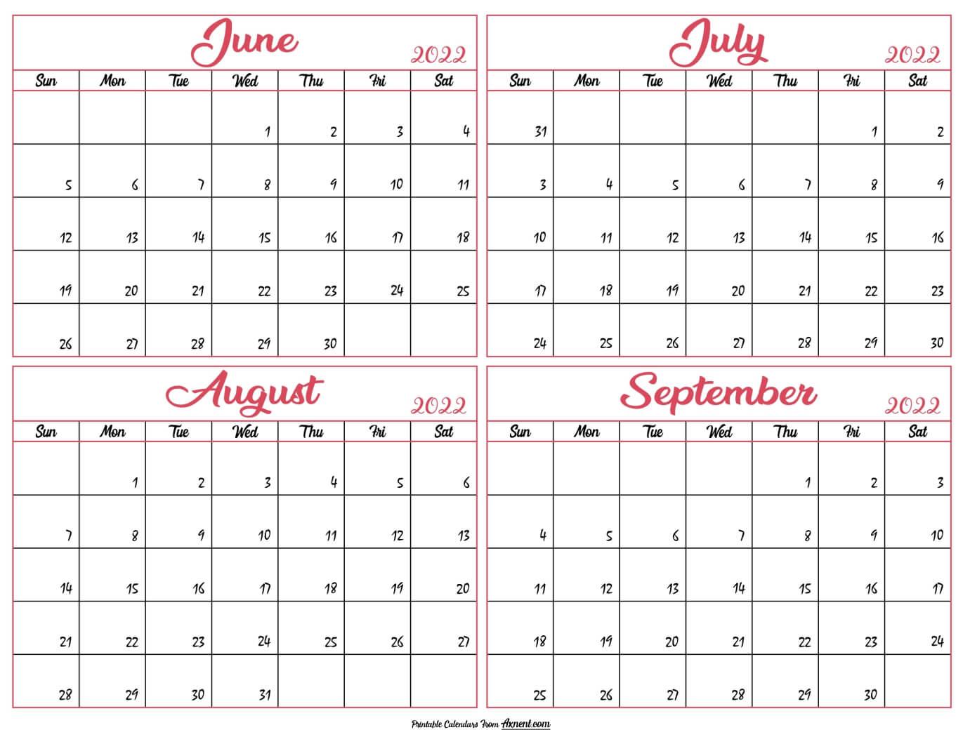 June to September Calendar 2022