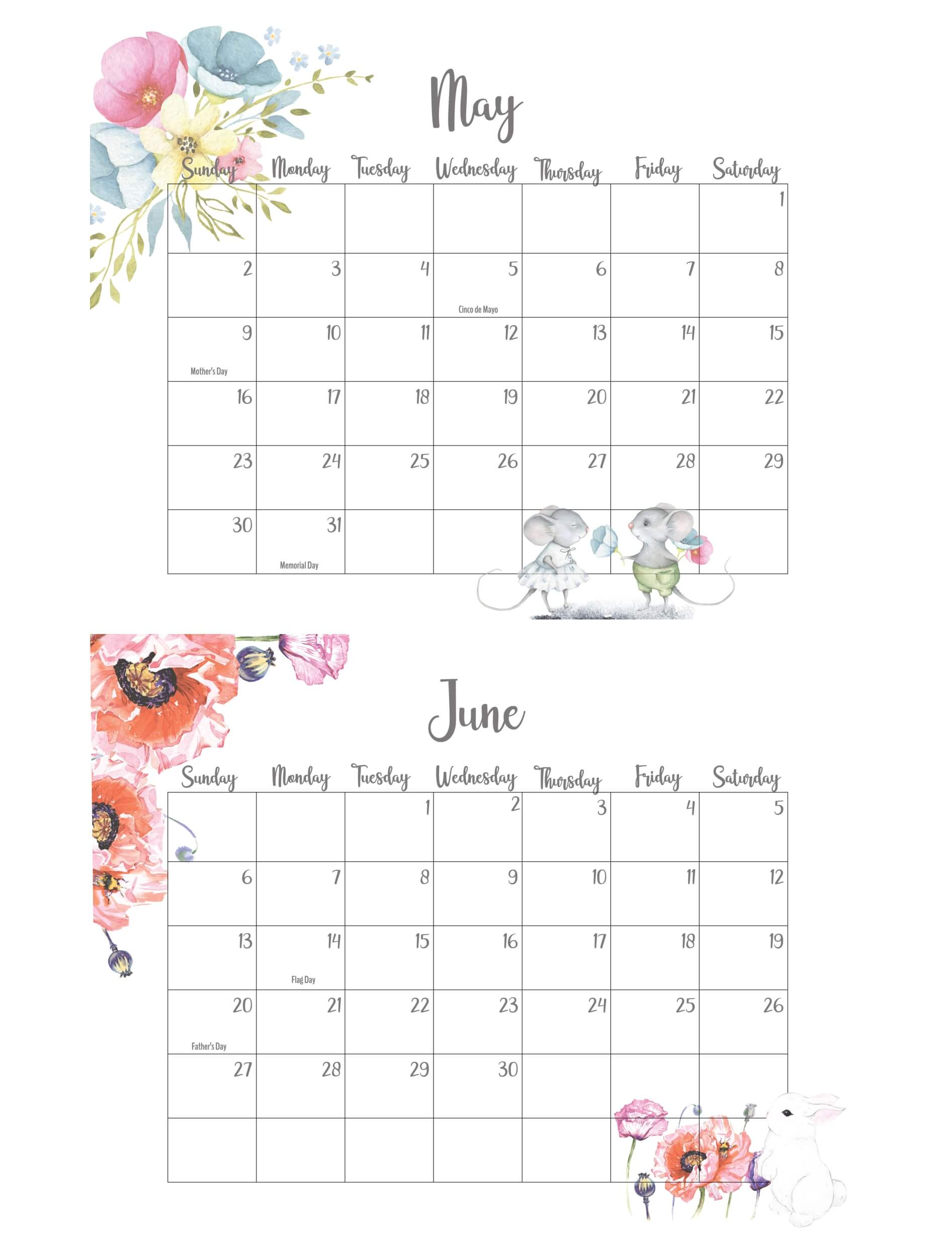 May June 2021 Calendar With Holidays