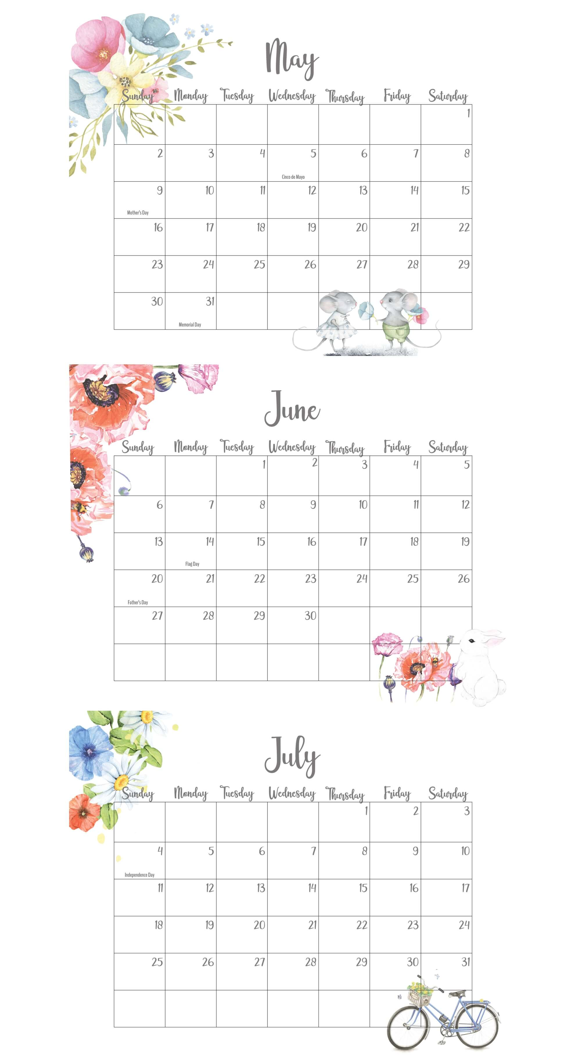 May June July 2021 Calendar With Holidays