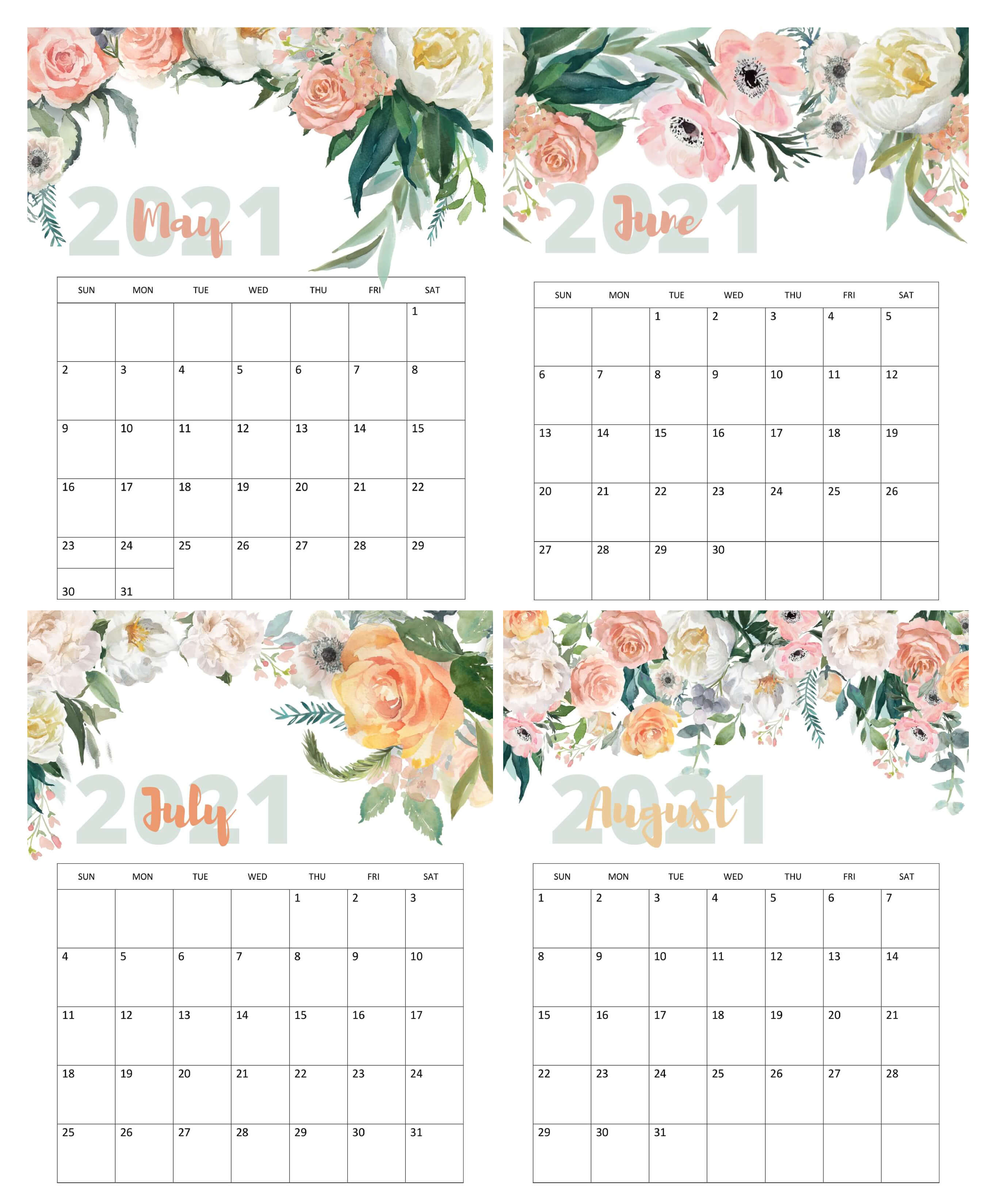 May To August 2021 Calendar Cute