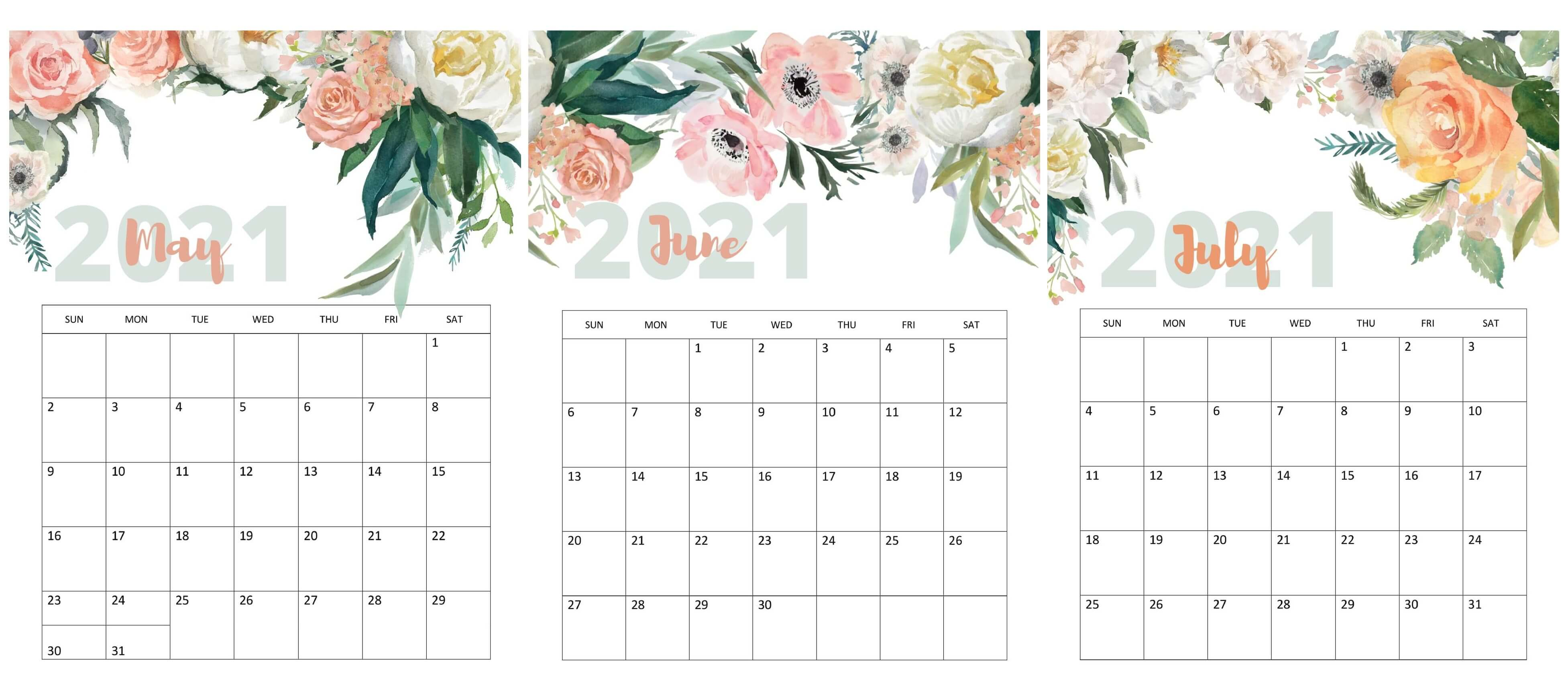 May To July 2021 Calendar Cute