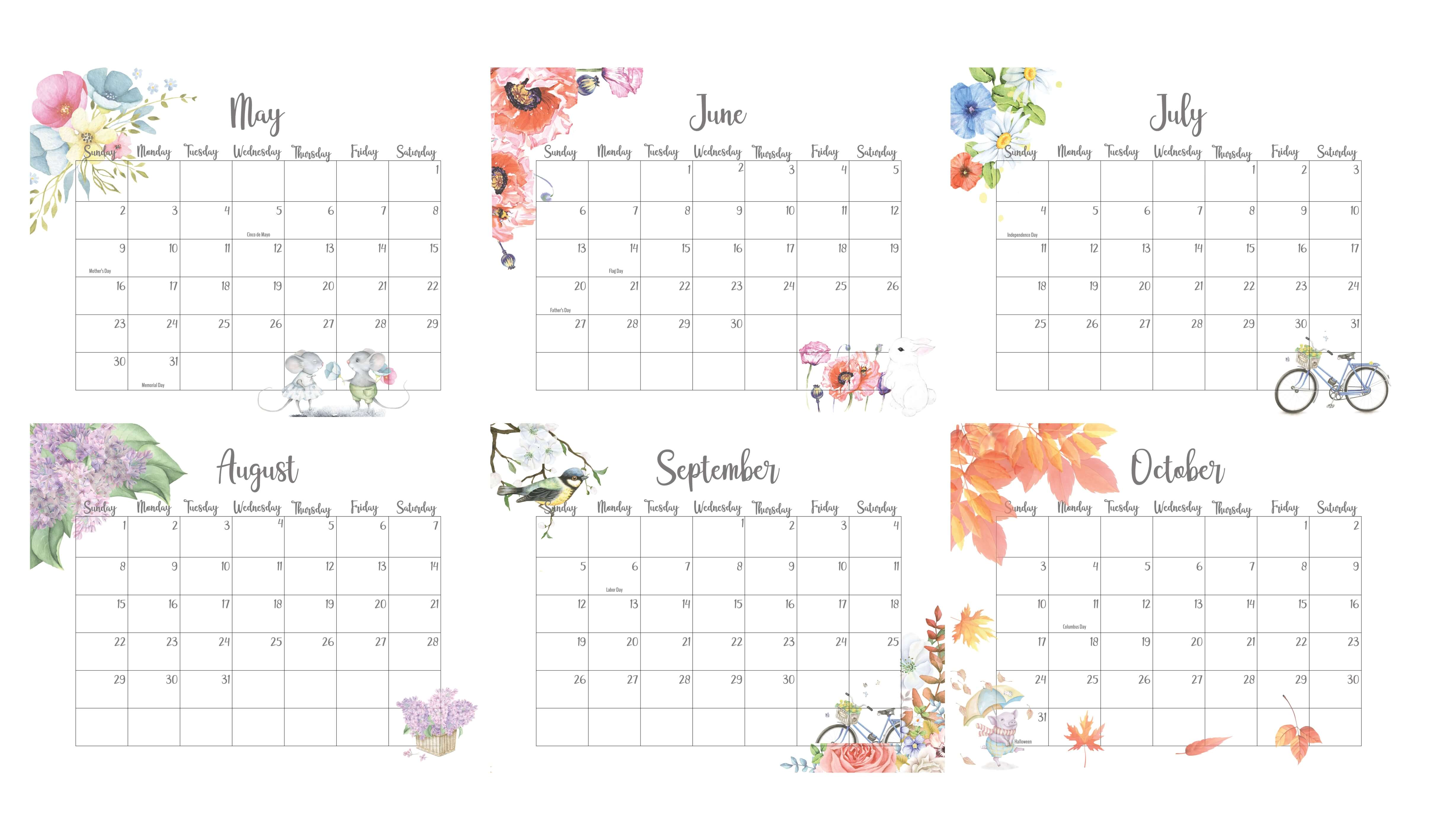 May To October 2021 Calendar With Holidays
