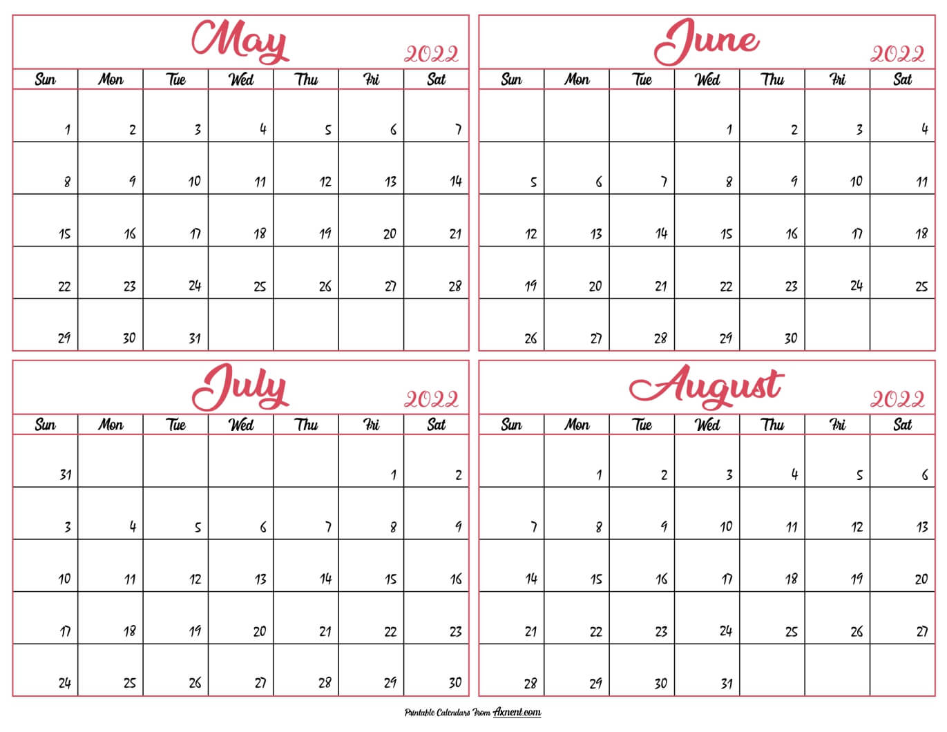 May to August Calendar 2022