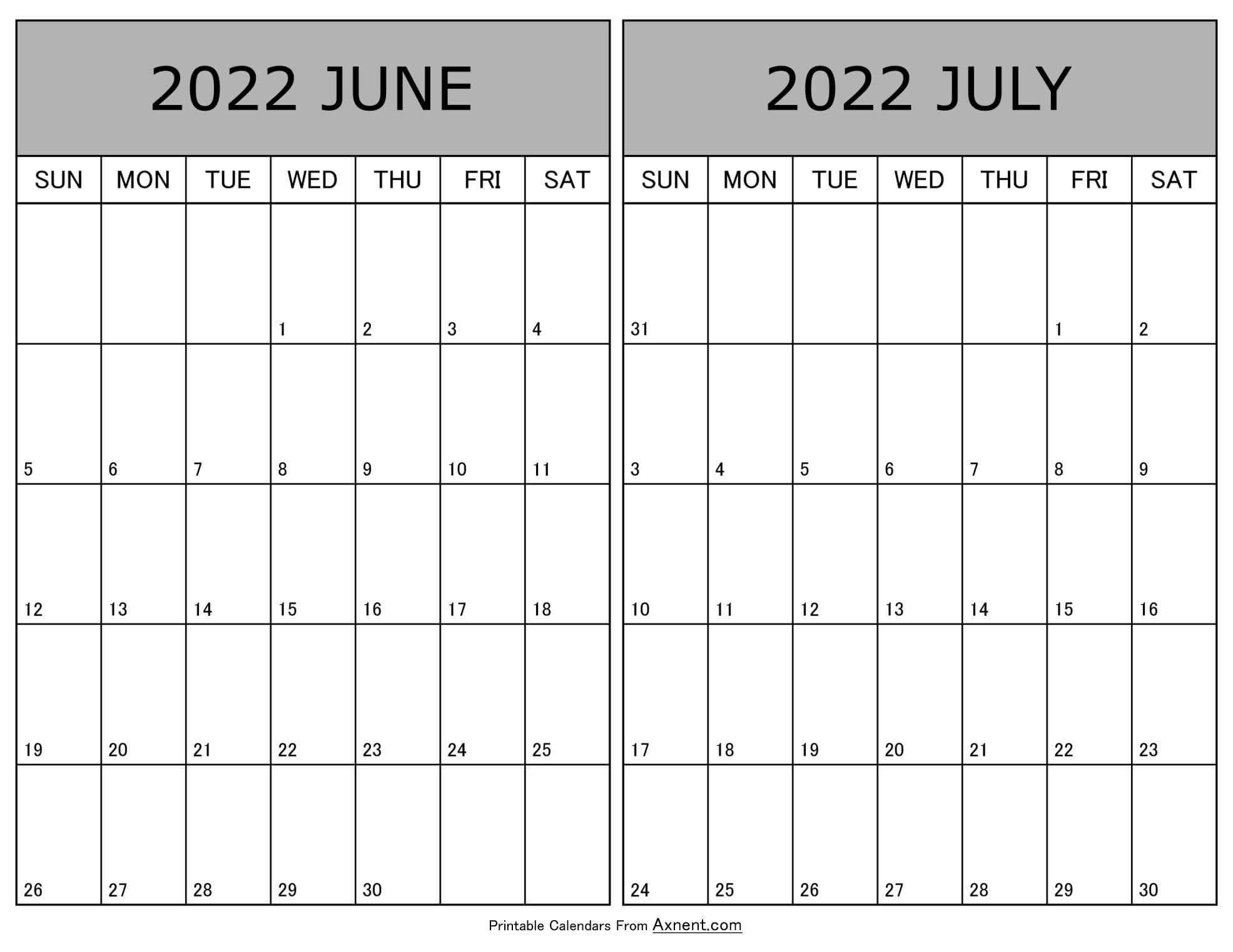 Printable June July 2022 Calendar