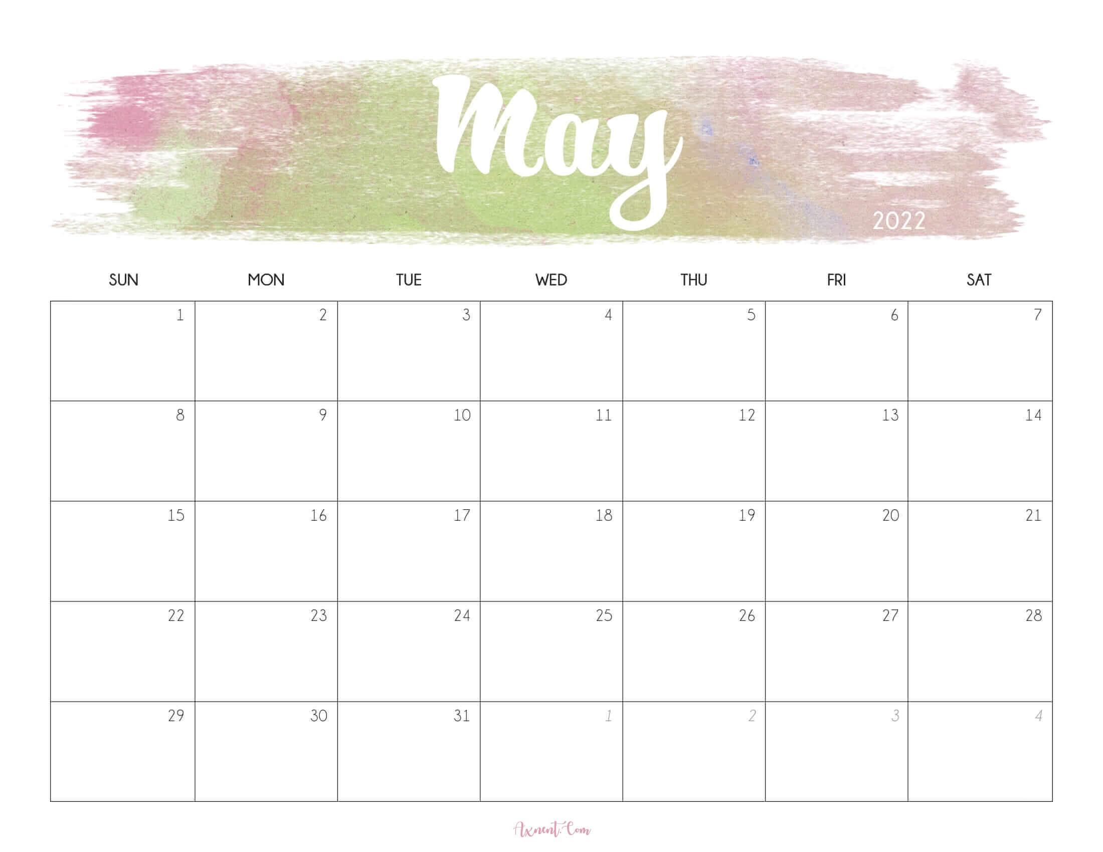 Cute May 2022 Calendar Printable