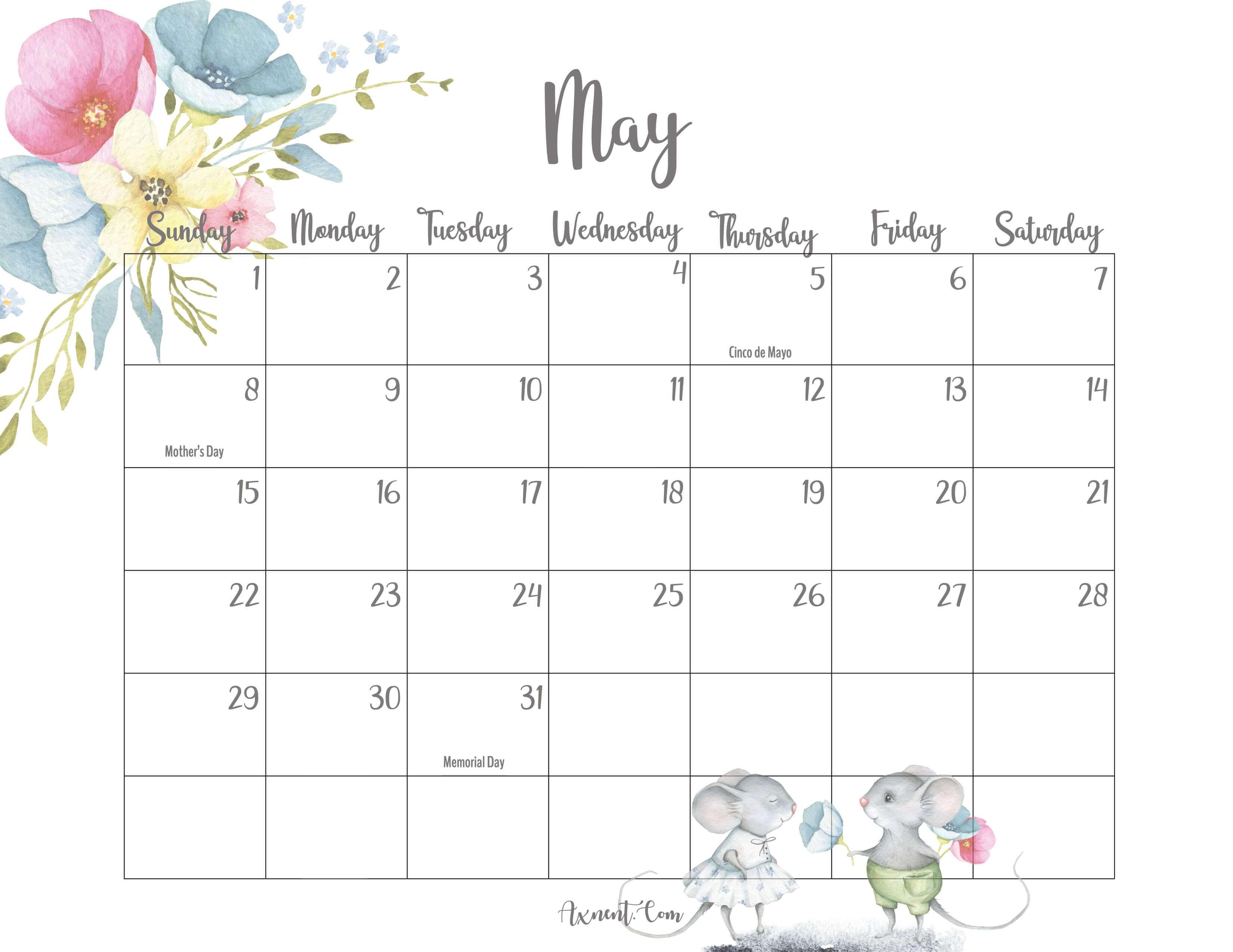 Cute May Calendar 2022